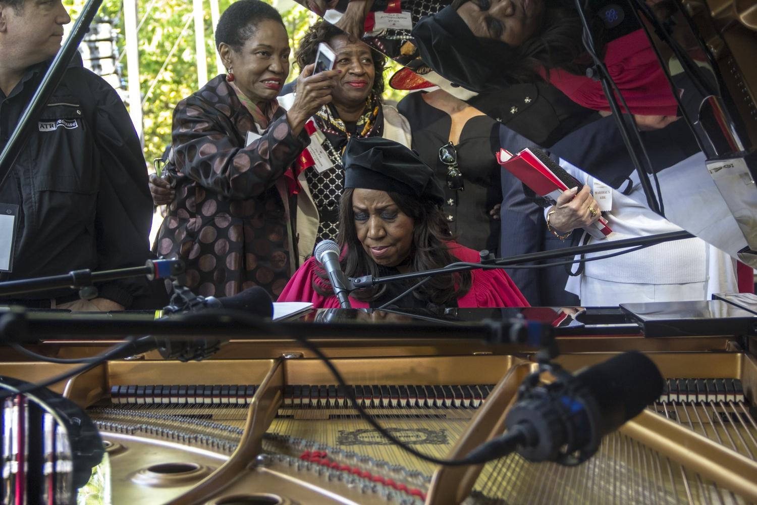 Aretha L. Frankin performs a musical piece during the 2014 Commencement Morning Exercises, where she would receive and honorary degree.