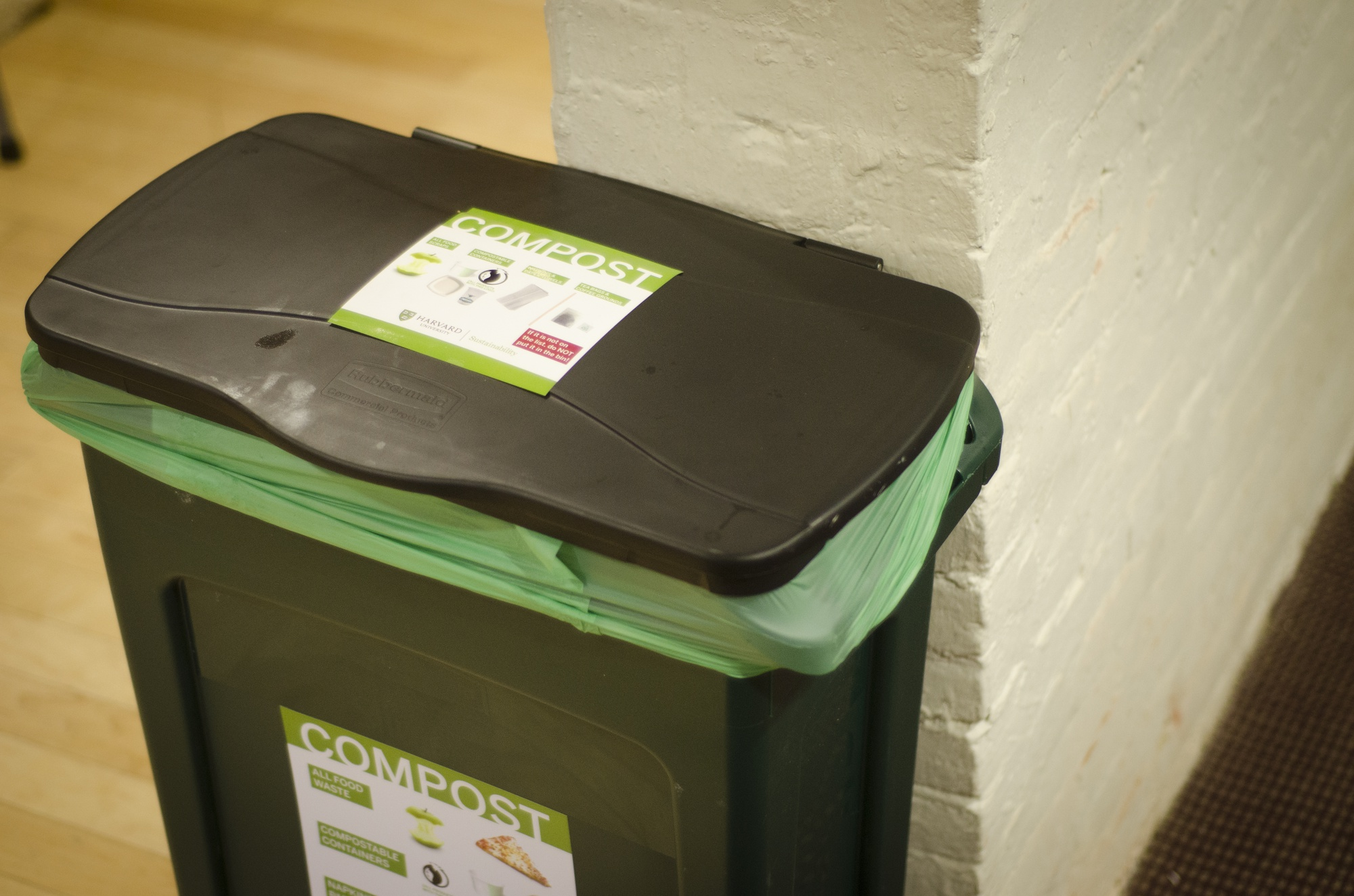 Compost bins, like the one shown above in Thayer Hall, have been placed in all of the freshman dormitories as part of a new waste-diversion program.