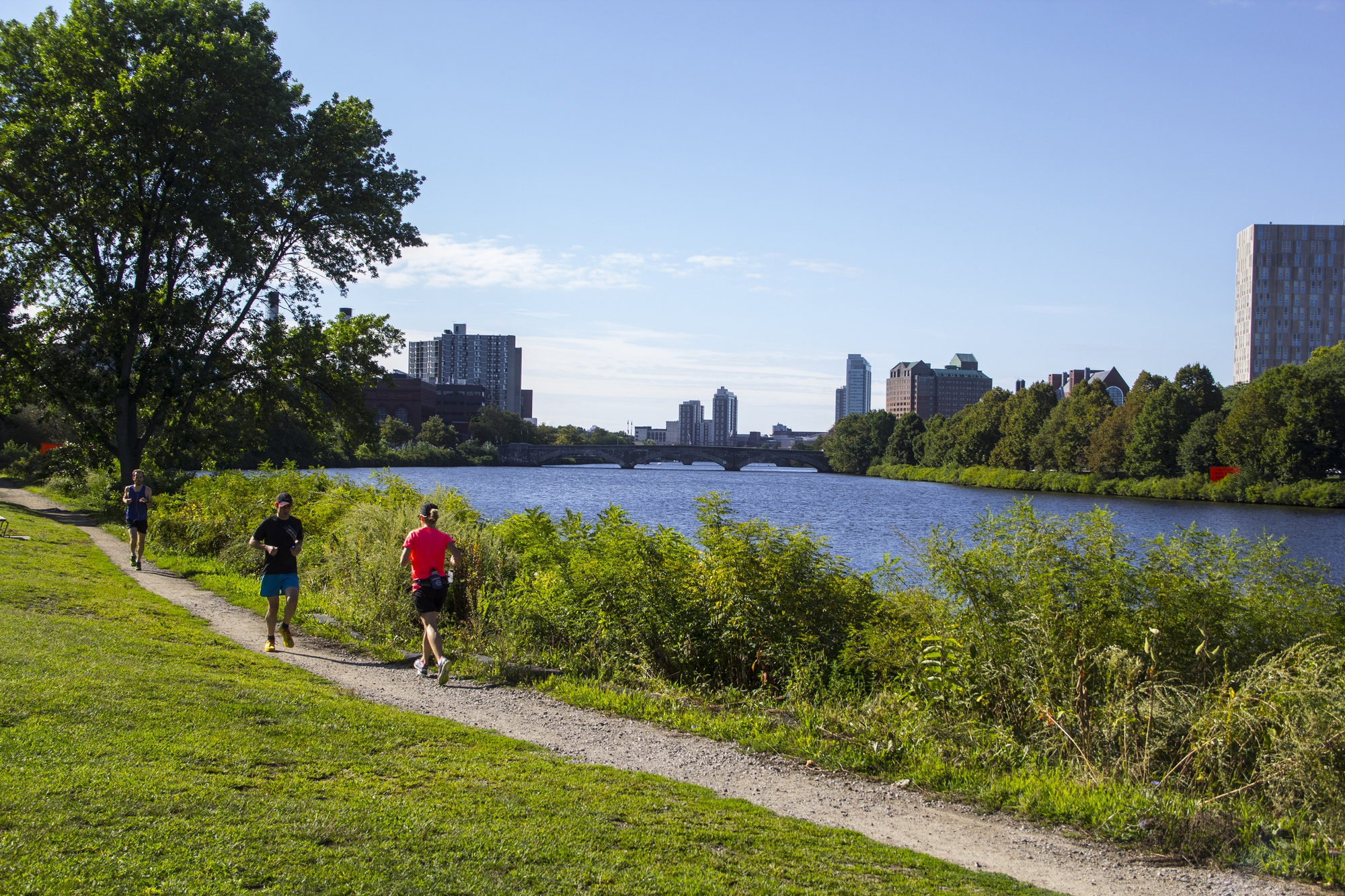 Residents run along the Charles River on a leisurely Sunday morning as the previous week's intense humidity abated.