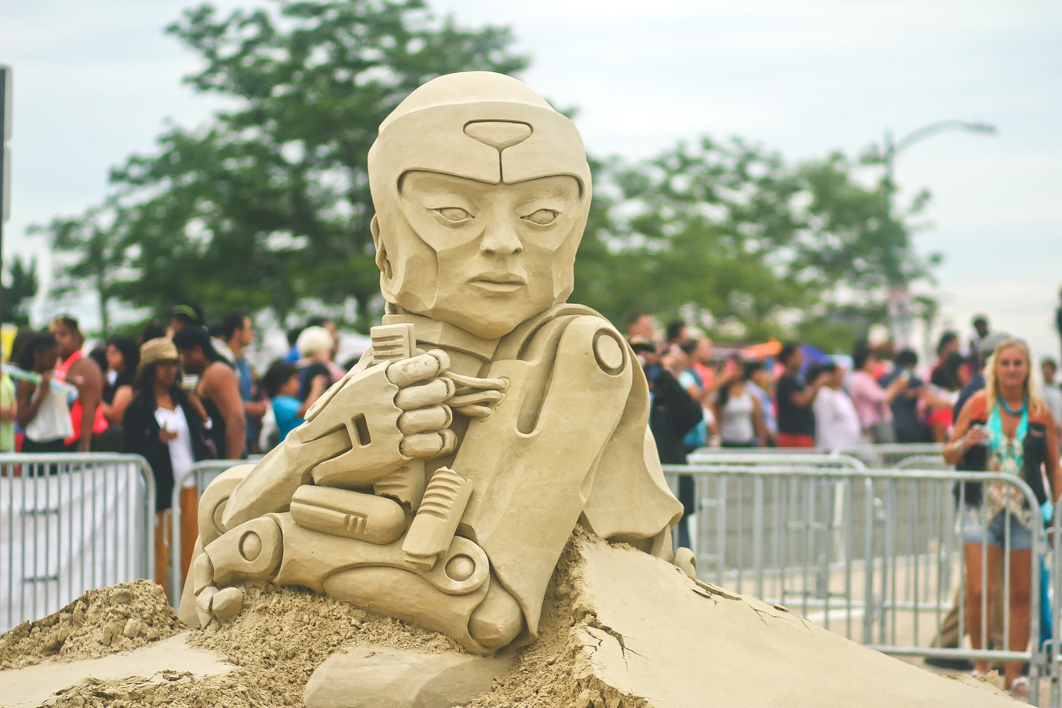 A sculpture stands at the annual Revere Beach National Sand Sculpting Festival, which lasted from July 18th to July 20th. Sculptors had a total of 24 hours to complete their pieces.