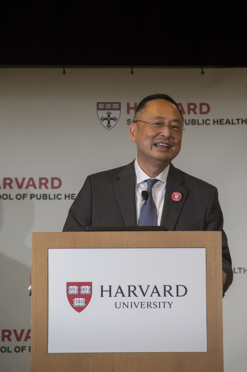 Gerald L. Chan addresses University administrators, donors, and faculty members on Monday afternoon at a ceremony formally unveiling his foundation's $350 million gift to the Harvard School of Public Health.
