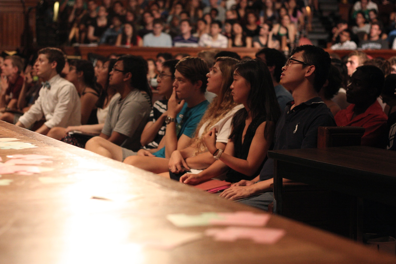 "Hundreds of students crowd Sanders Theatre for the first meeting of CS 50: ""Introduction to Computer Science I."""