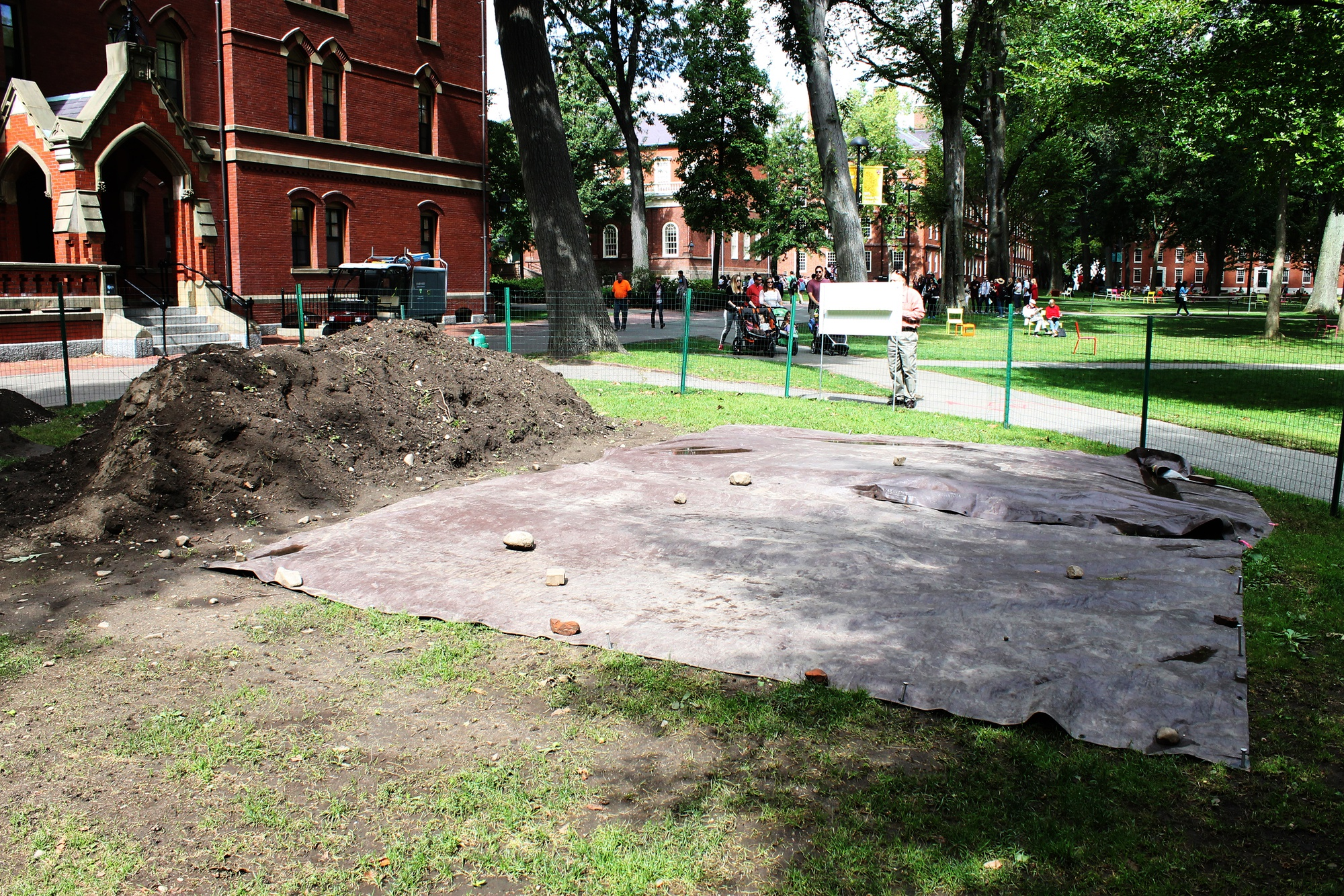 Harvard archaeologists begin the 4th excavation season in front of Matthews Hall, which also belonged to the Indian College in the 17th Century.