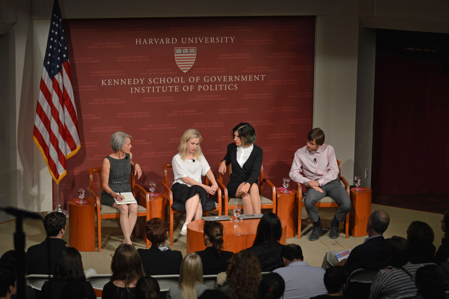 From the left, Jill Dougherty, Masha Alekhina, Nadya Tolokonnikova, and Pyotr Verzilov discuss the implications of Pussy Riot in Russian politics at the IOP in September.