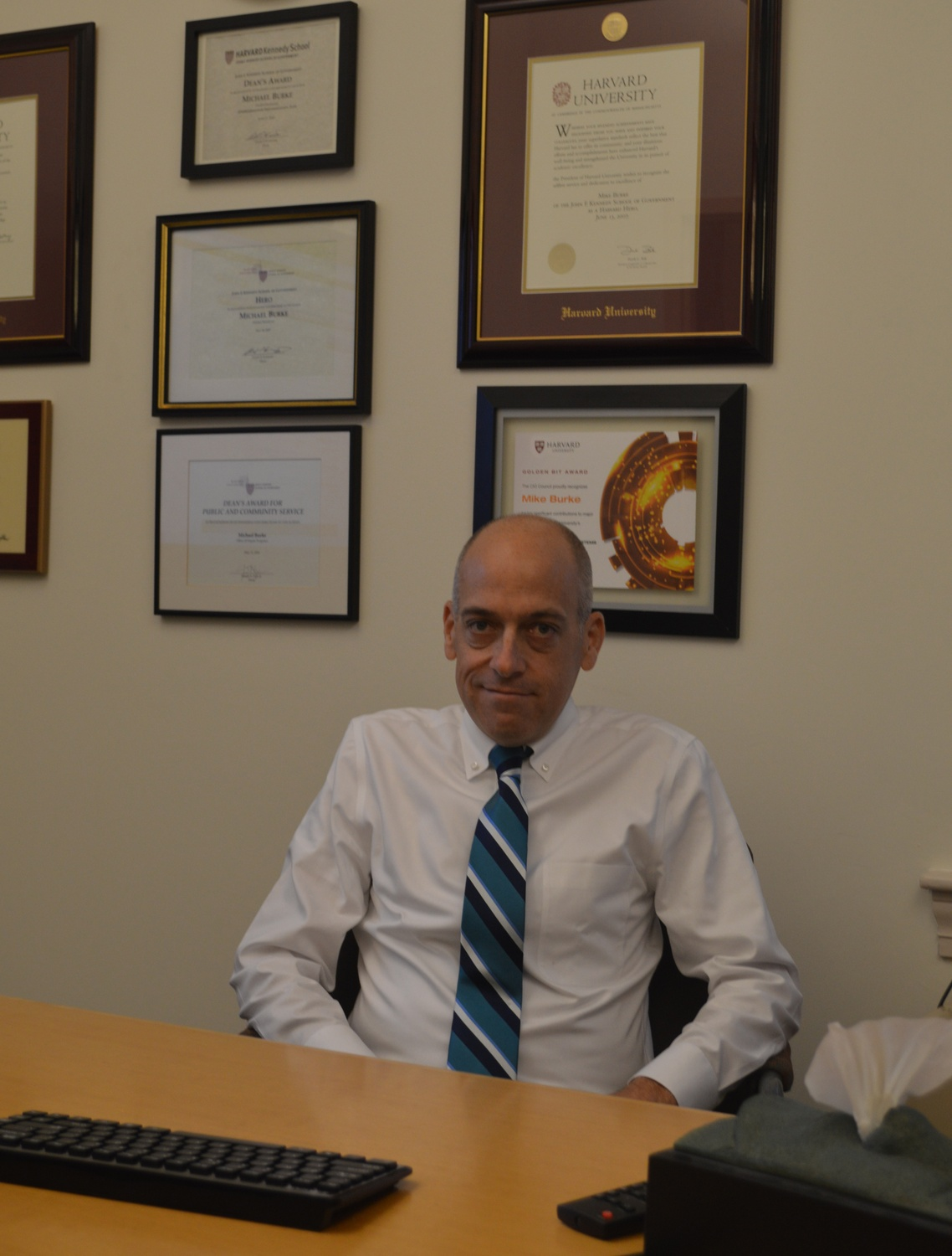Michael P. Burke is the Registrar: he manages everything from enrollment issues to the course catalog.