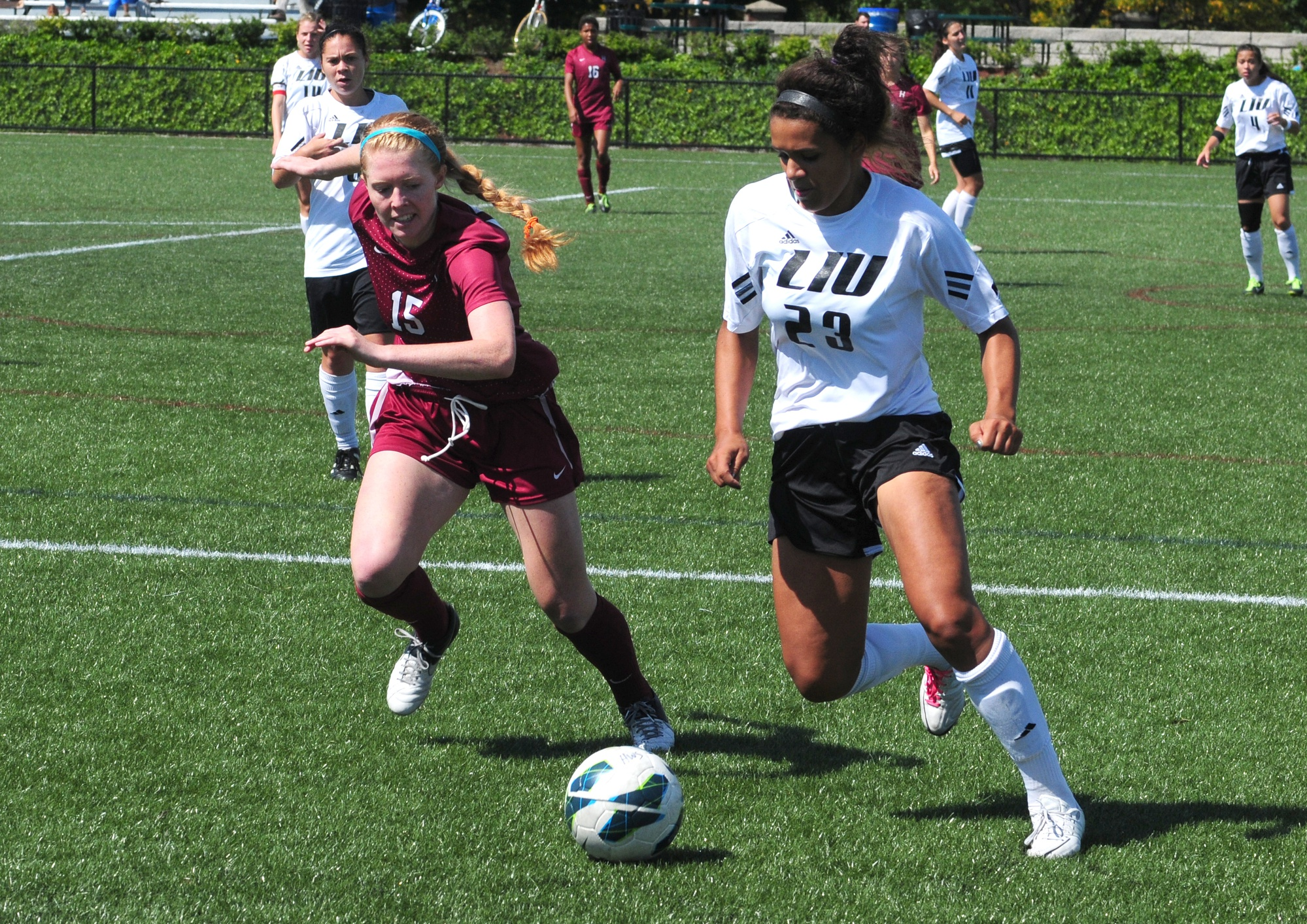 Senior forward Emily Mosbacher, shown here in previous action, notched a shot on goal in a winning effort against Army.