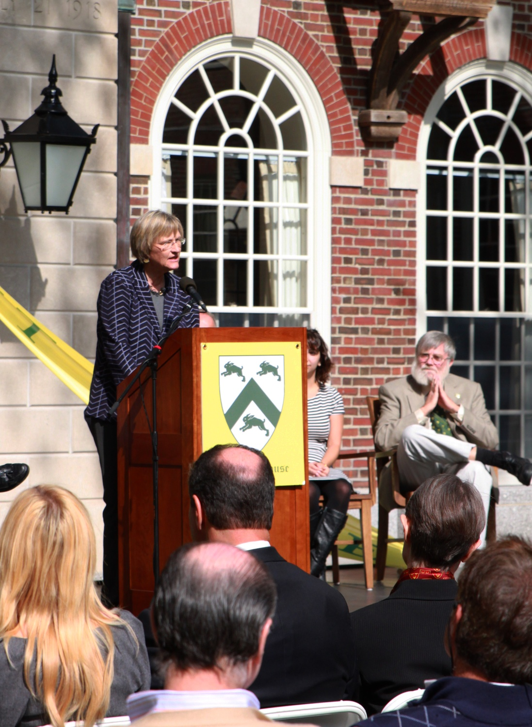 University President Drew G. Faust speaks in the courtyard of McKinlock Hall about the importance of House Renewal for Harvard as an institution.