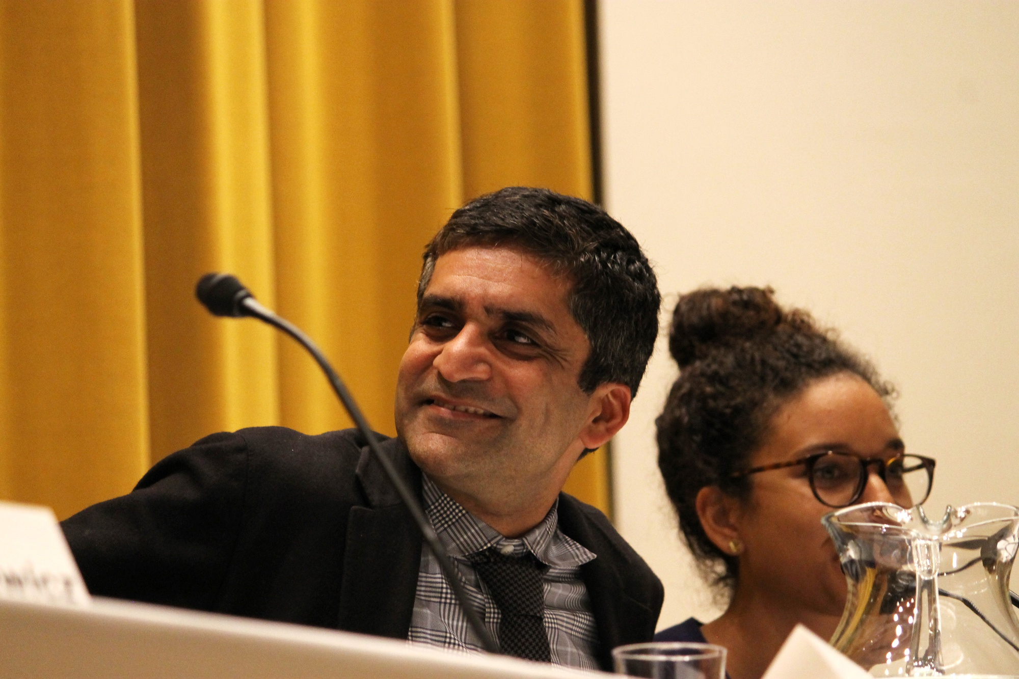 "Dean Rakesh Khurana asks William Deresiewicz, writer of New Republic article, ""Don't Send Your Kid to the Ivy League,"" what he misses most about being an educator on Monday evening in Paine Hall."
