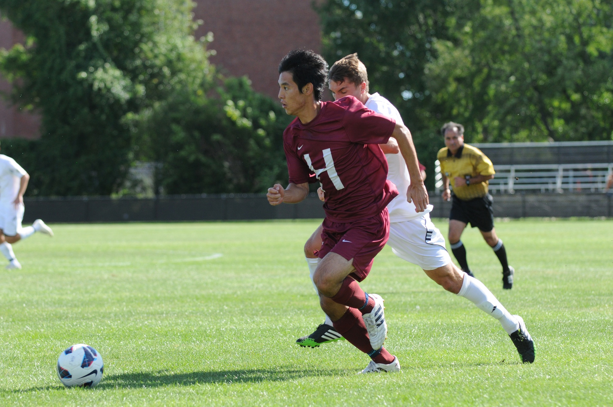 Senior forward Hiroki Kobayashi, shown here in previous action, notched the only goal of the day to push Harvard past Cornell in a tight conference matchup.
