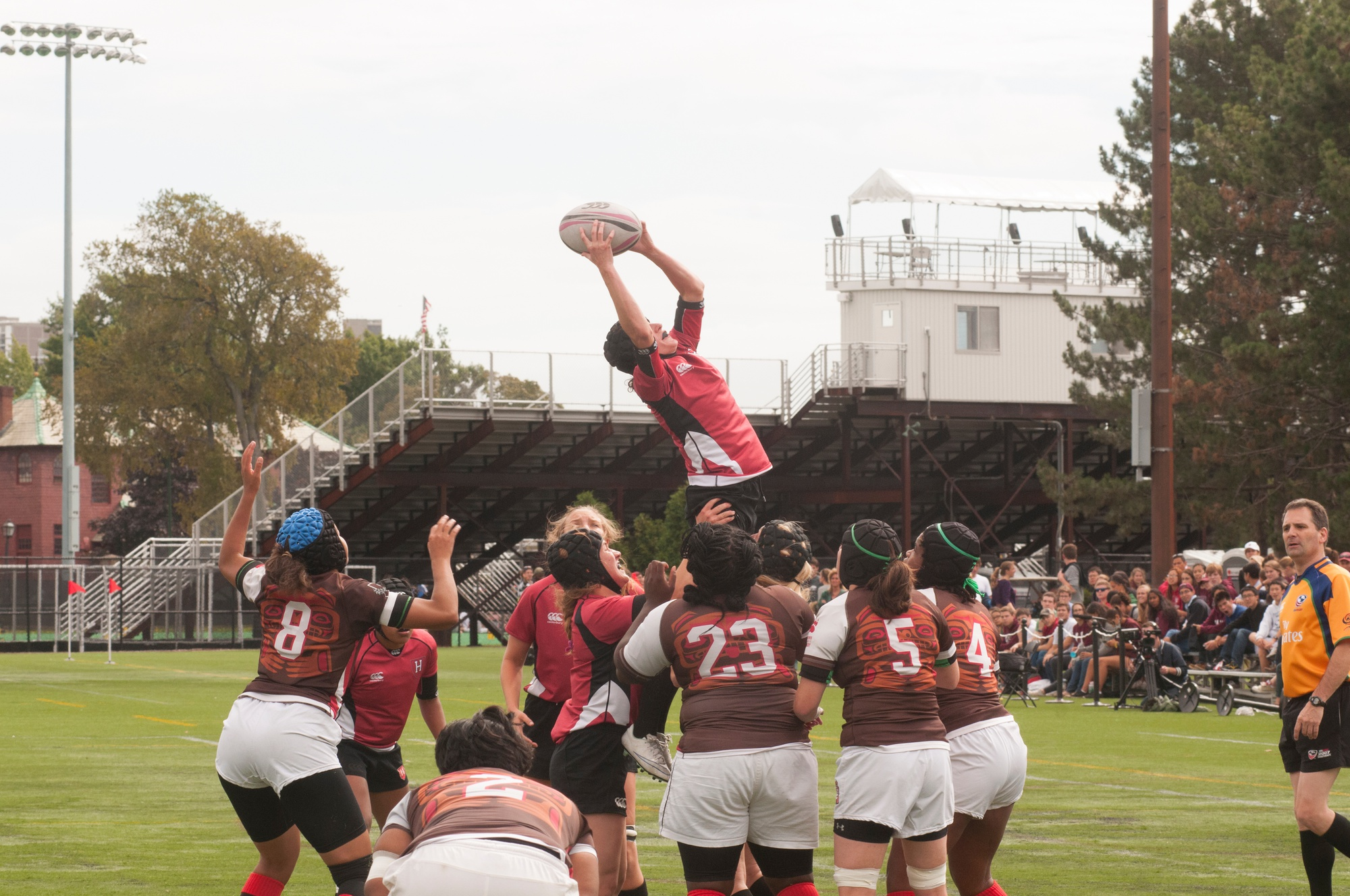 The women's rugby team, shown here in earlier action, notched its first home win against Cornell, 75-0.