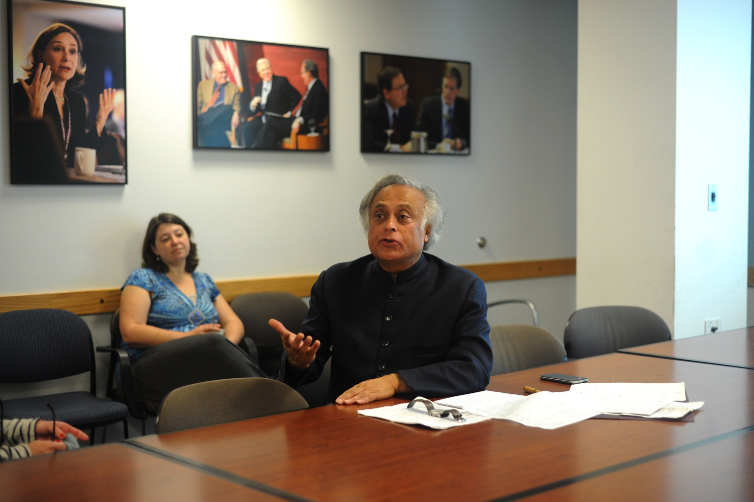 Indian Minister Jairam Ramesh speaks in the Kalb Seminar Room at the Kennedy School of Government for the Nuclear Power and Climate Change in India seminar on Tuesday.