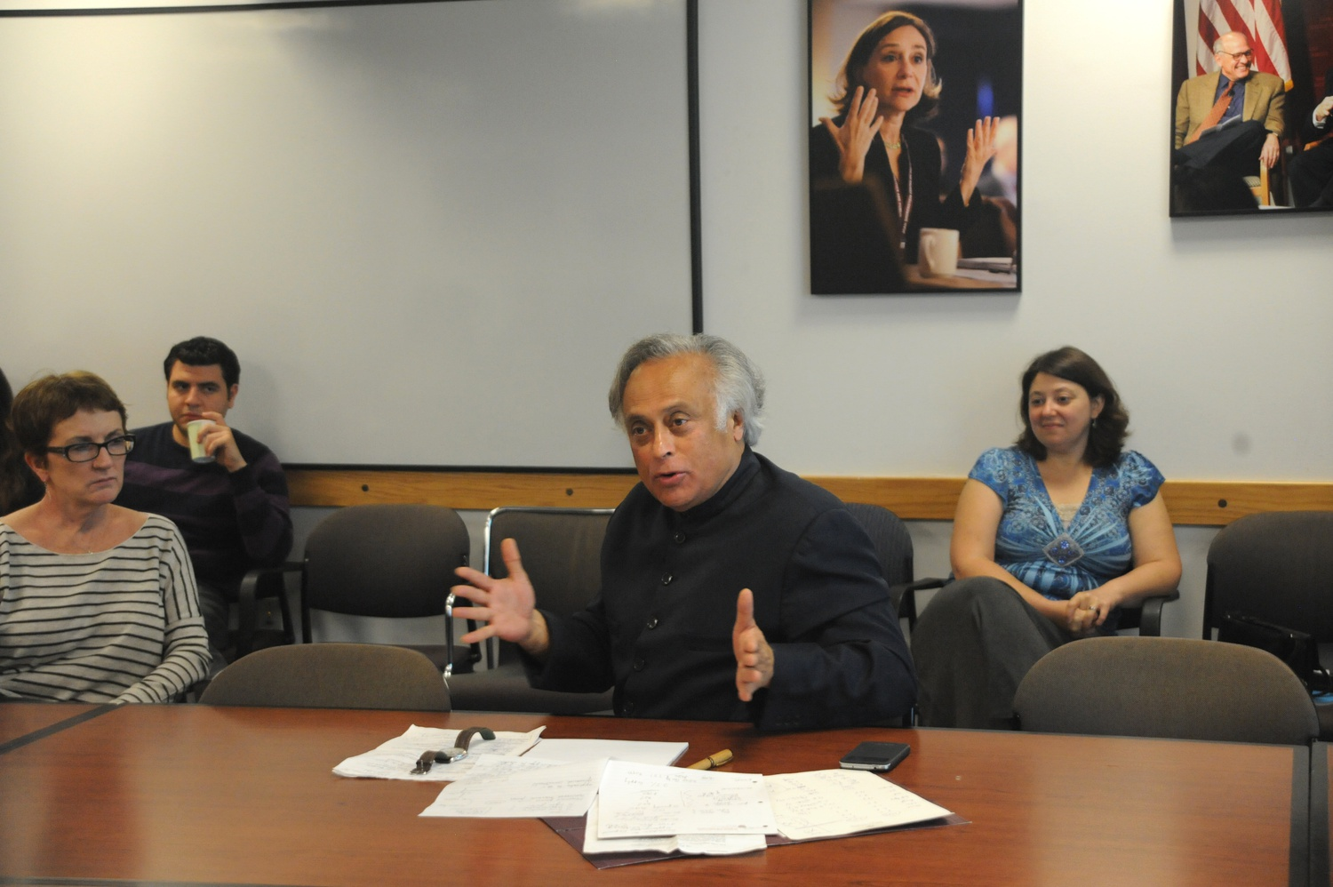 Indian Minister Jairam Ramesh speaks in the Kalb Seminar Room at the Harvard Kennedy School of Government for the Nuclear Power and Climate Change in India seminar on Tuesday. This seminar was sponsored by the Project on Managing the Atom.