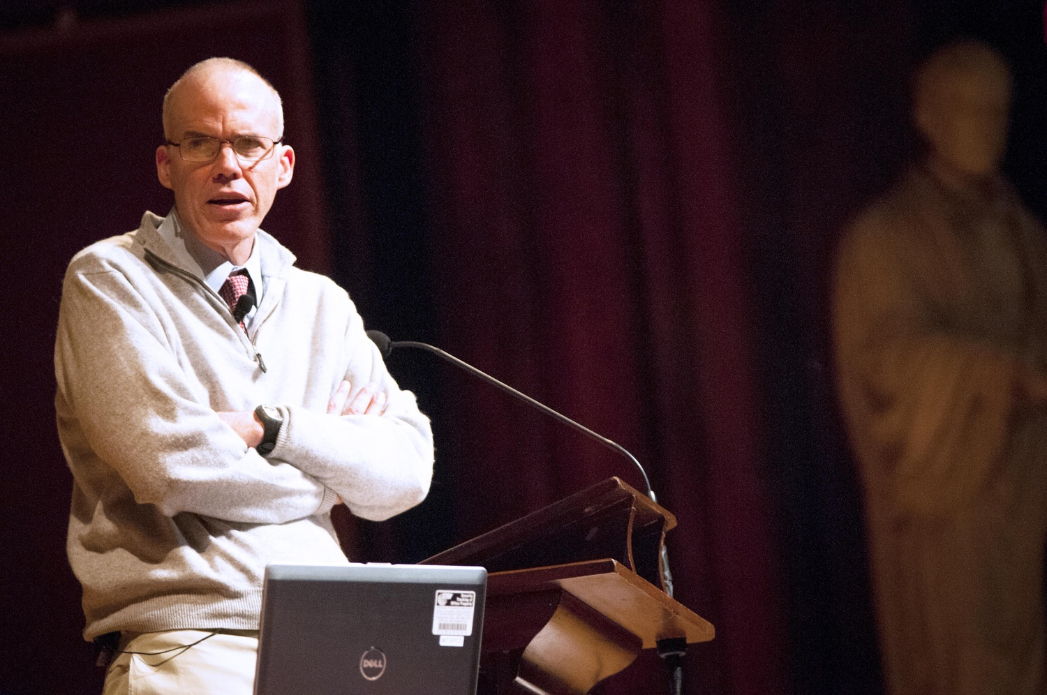 William E. McKibben '82, environmentalist and author, conducts a lecture on climate change and fossil fuel divestment at Sanders Theatre on September 17, 2013.