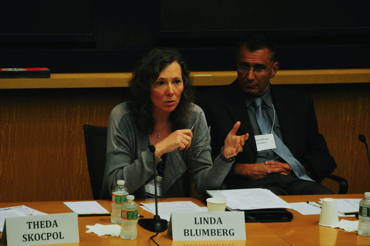 """Linda J. Blumberg, a speaker at a panel """"Taking Stock of Health Reform,"""" in CGIS South Thursday afternoon, discusses Obamacare."""
