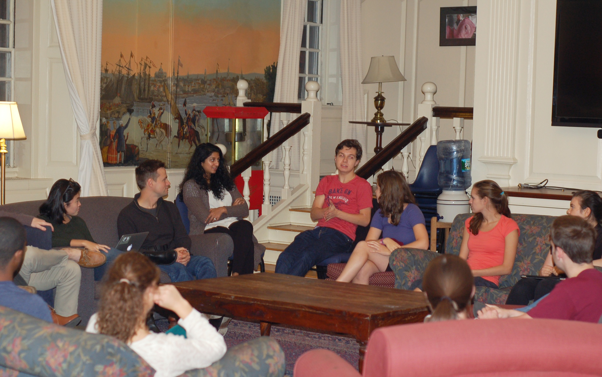 """The Undergraduate Harvard Political Union hosts a discussion """"Sexual Assault & Rape Culture"""" in the Lowell House Junior Common Room Thursday evening in which students voiced concerns and recommendations to improve communications and university response moving forward."""