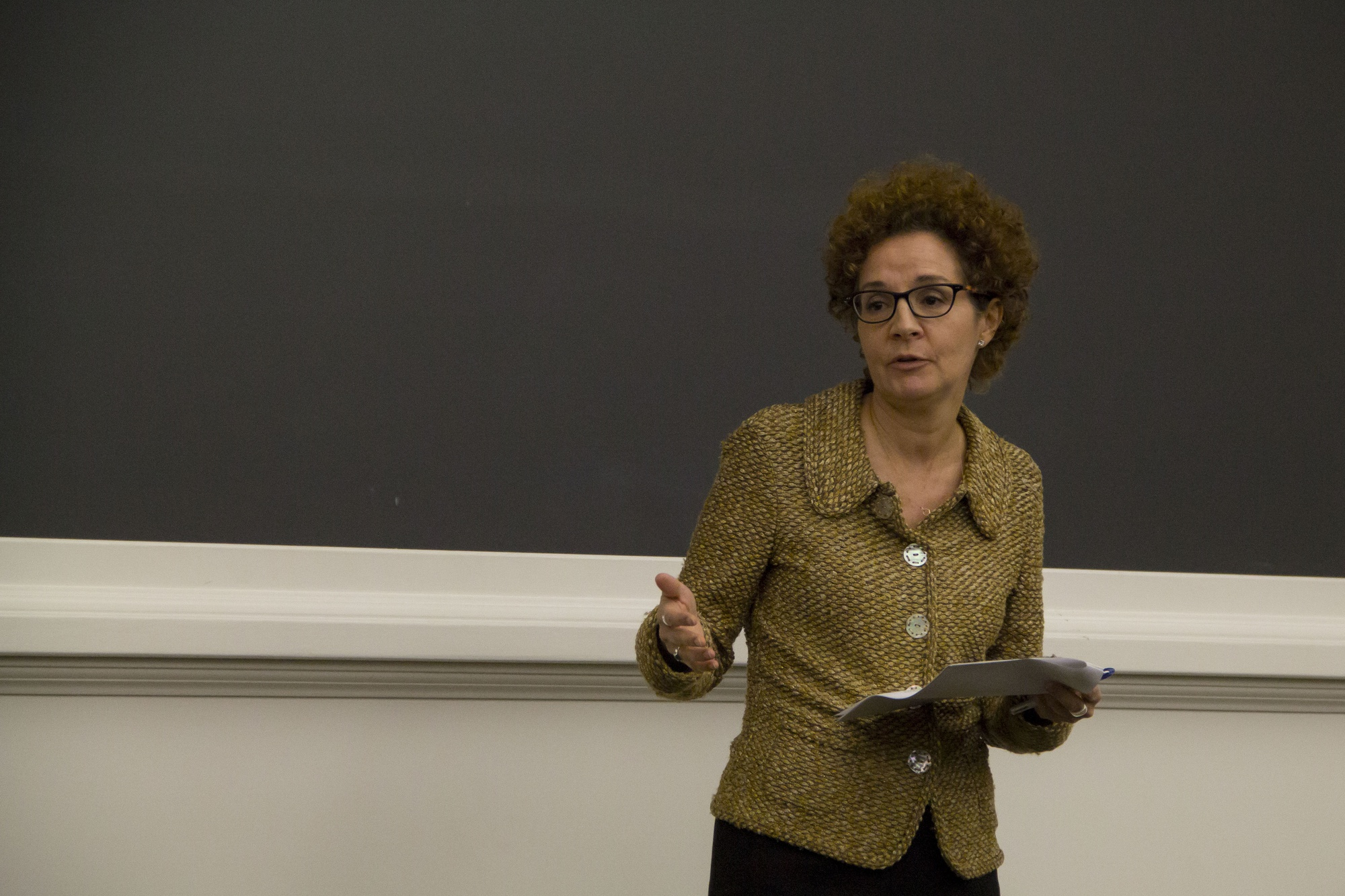 University Title IX Officer Mia Karvonides speaks at a Sexual Assault Town Hall, Monday, Oct. 20.