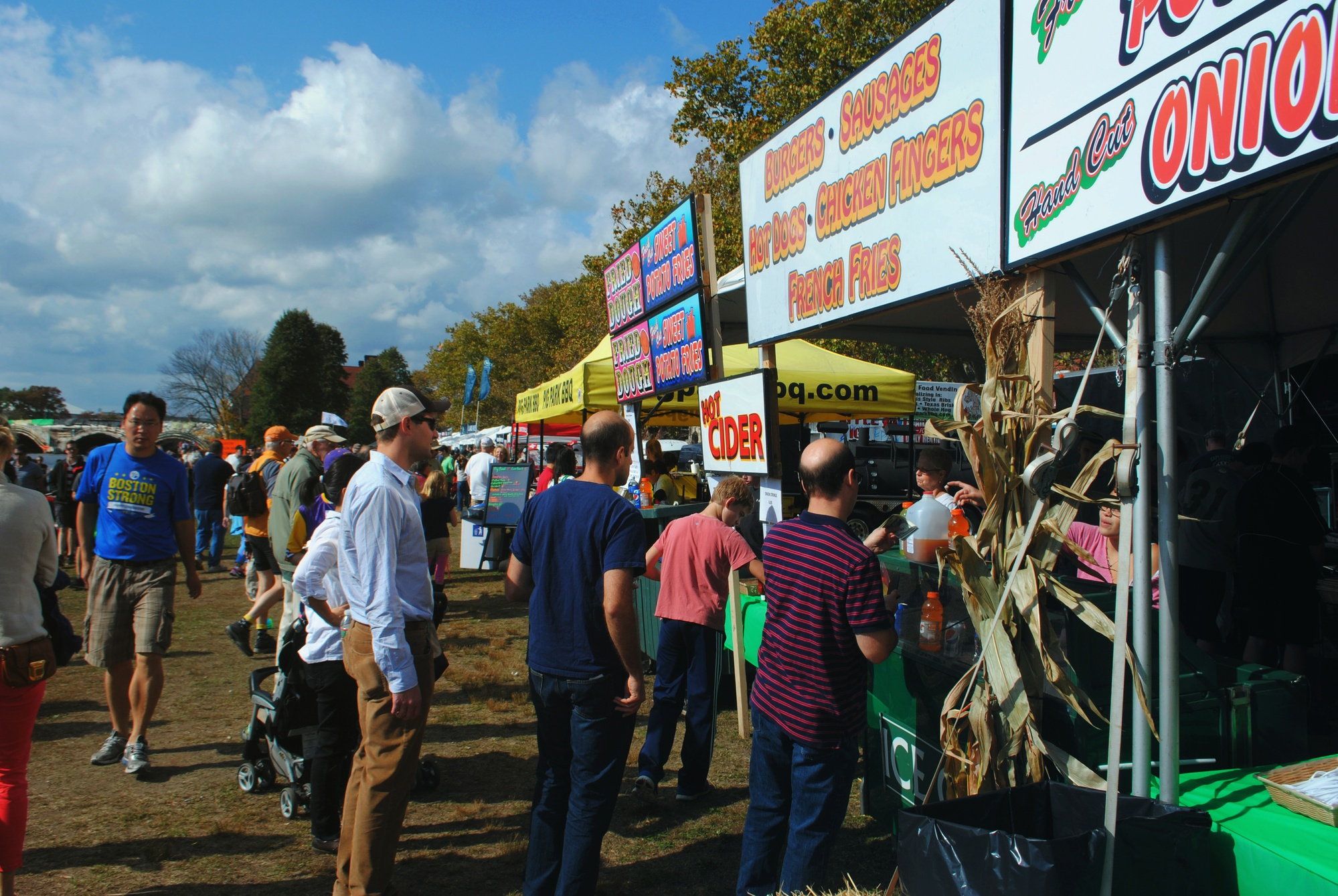 Long lines of spectators form around food vendors at the Head of the Charles on Saturday afternoon.