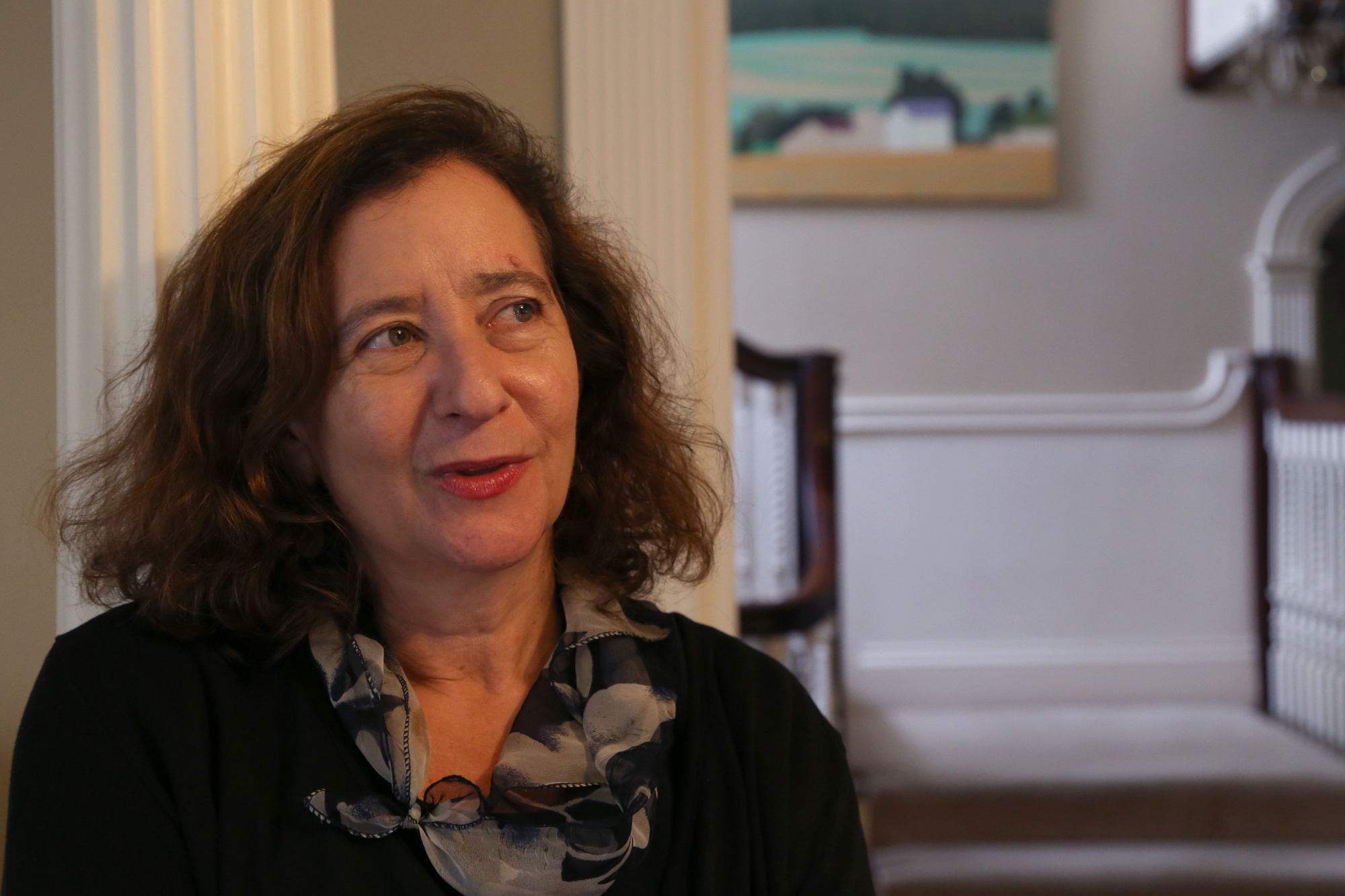 Summers' wife and English professor Elisa New speaks during an interview with The Crimson in her home in Brookline earlier this month.