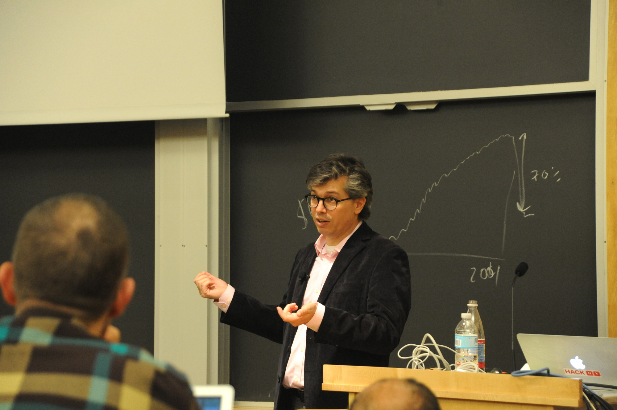 Chris Wiggins, chief data scientist at The New York Times, speaks about the development of data, from segments in the 19th century to algorithms today, in Maxwell-Dworkin G115 on Friday afternoon.
