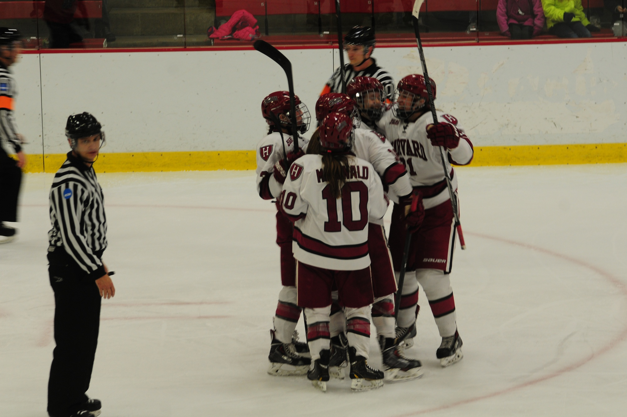The women's hockey team, shown here in earlier action, recorded two victories in its opening weekend.