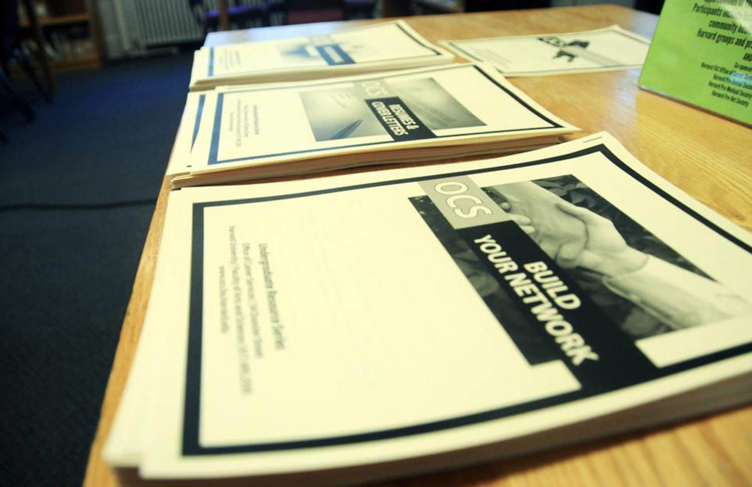 Pamphlets with networking tips were offered during a Job Search workshop at the Office of Career Services in 2011.