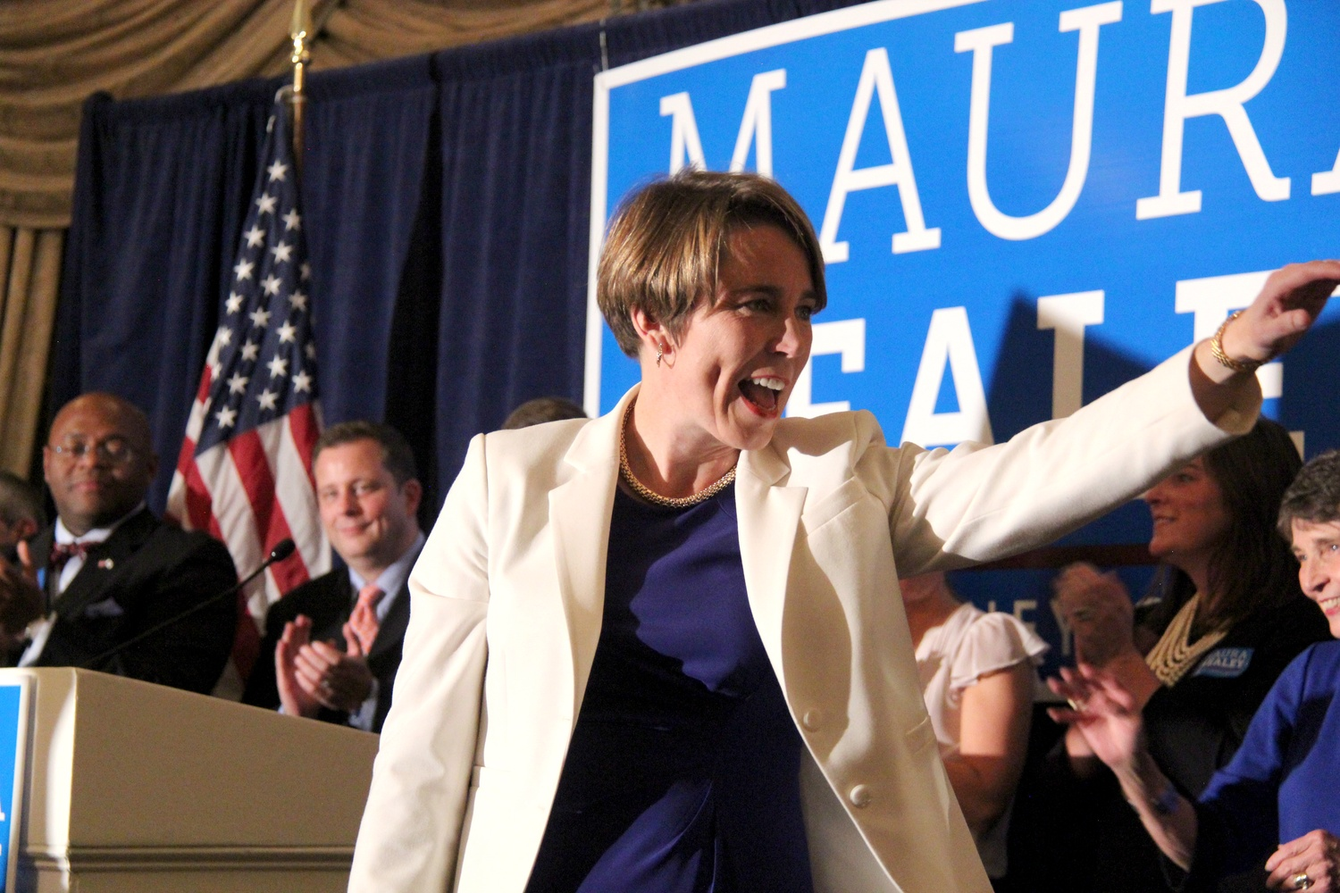 Maura Healey '92, the newly elected Attorney General, celebrates her election at the Oval Room in the Fairmont Copley Plaza on Wednesday night.