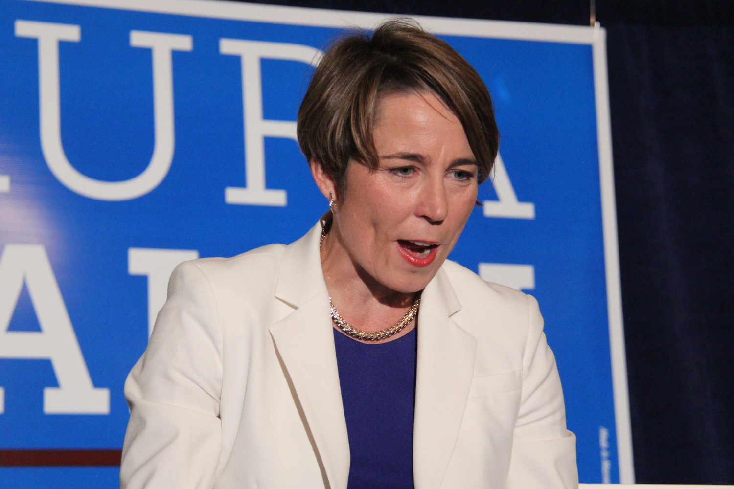 Maura Healey '92, the newly elected Attorney General, celebrates her election at the Oval Room in the Fairmont Copley Plaza on Wednedsay night.