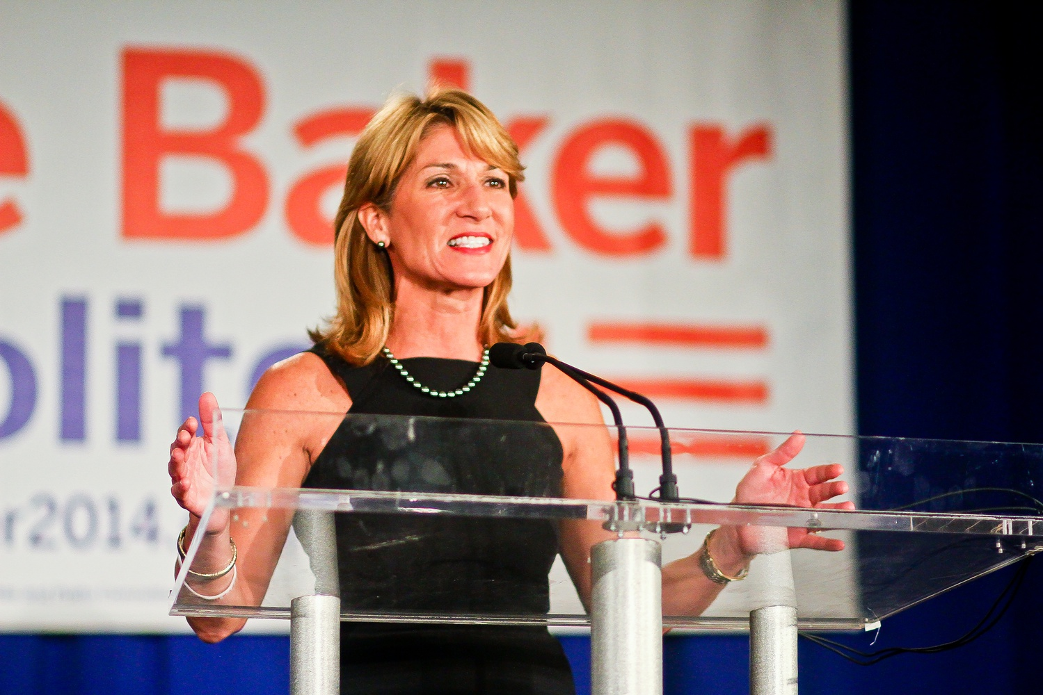 Karyn Polito, winner of the Lieutenant Governor Massachusetts position, greets the crowd shortly after Charlie D. Baker '79 was announced as the gubernatorial winner.