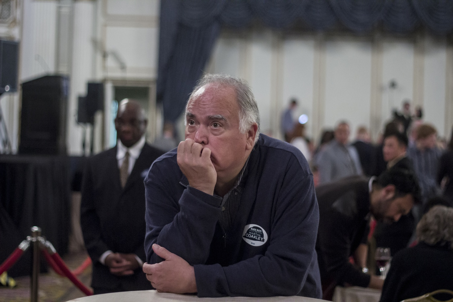 A Coakley supporter looks dejected at the election results at the Fairmont Copley Plaza.