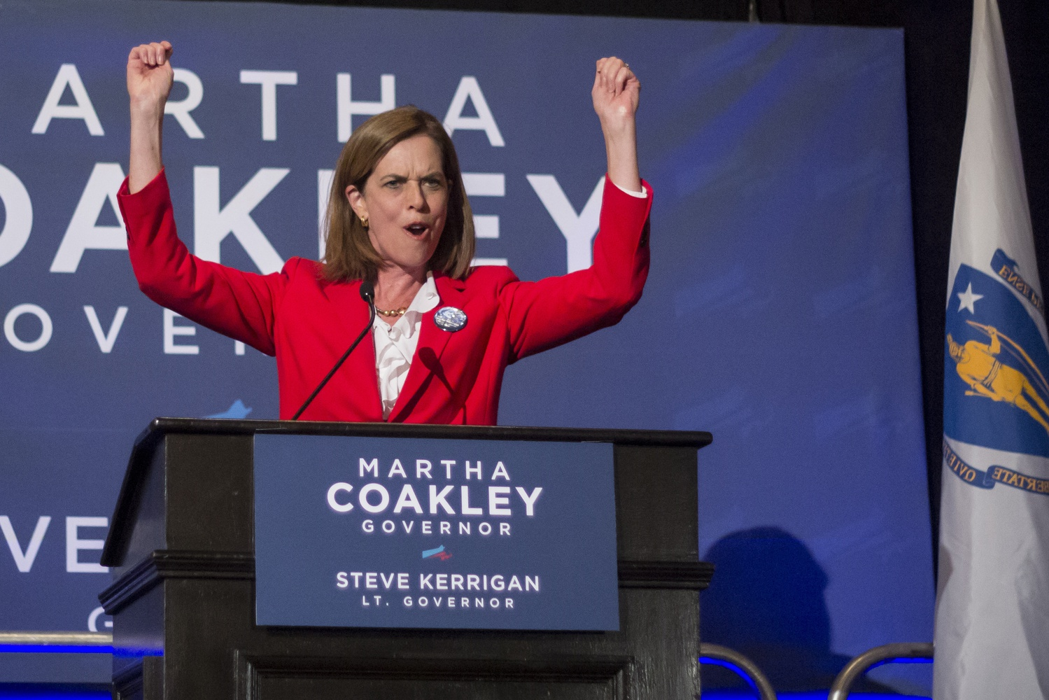 U.S. Rep. Katherine M. Clark rallies up Coakley supporters after preliminary results showed the Democratic candidate taking the lead.