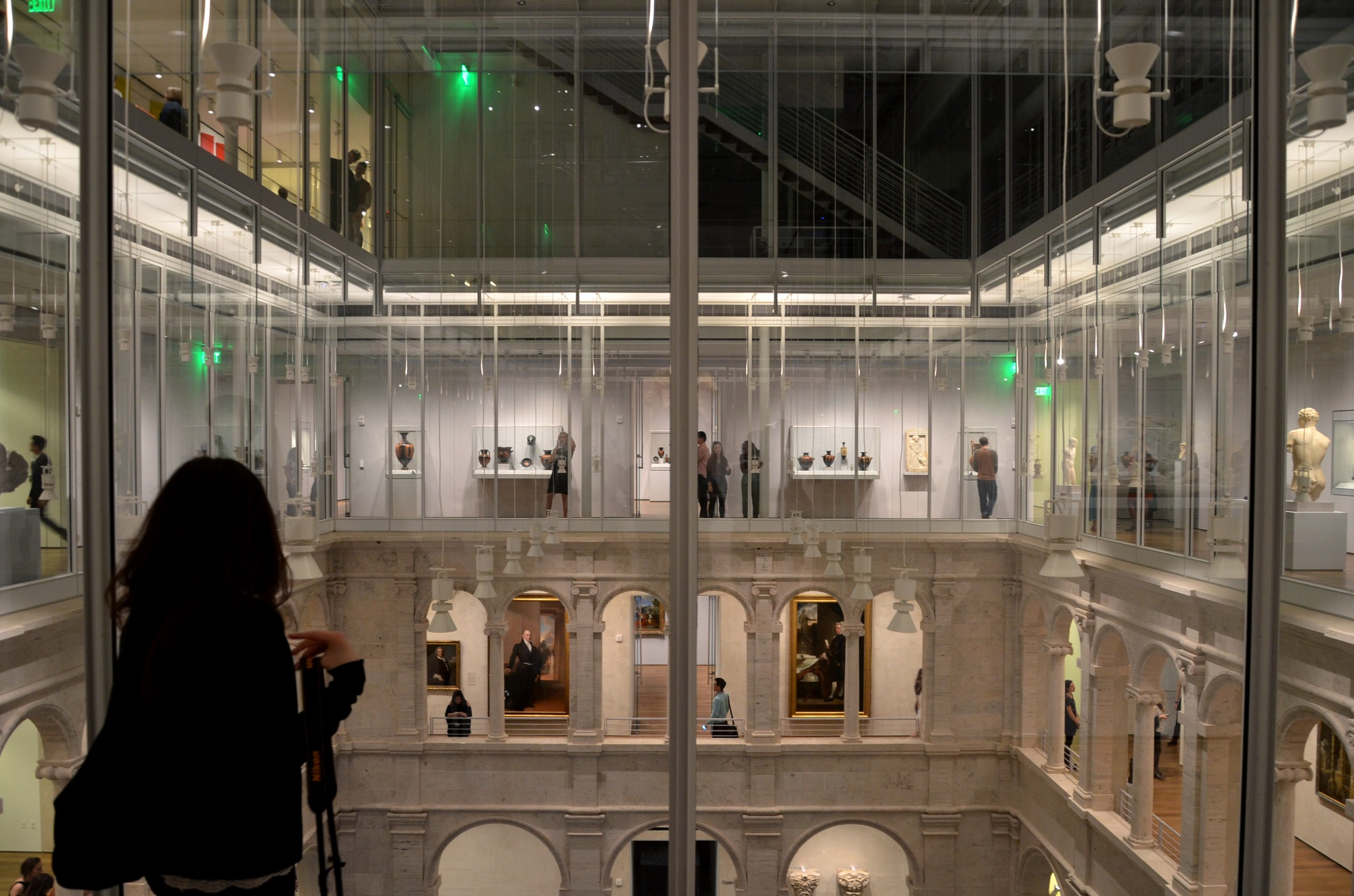 Students and members of the Harvard Art Museums visit the newly opened Fogg Museum on the night of the building's student opening. The museum will be officially open to the public on November 16.