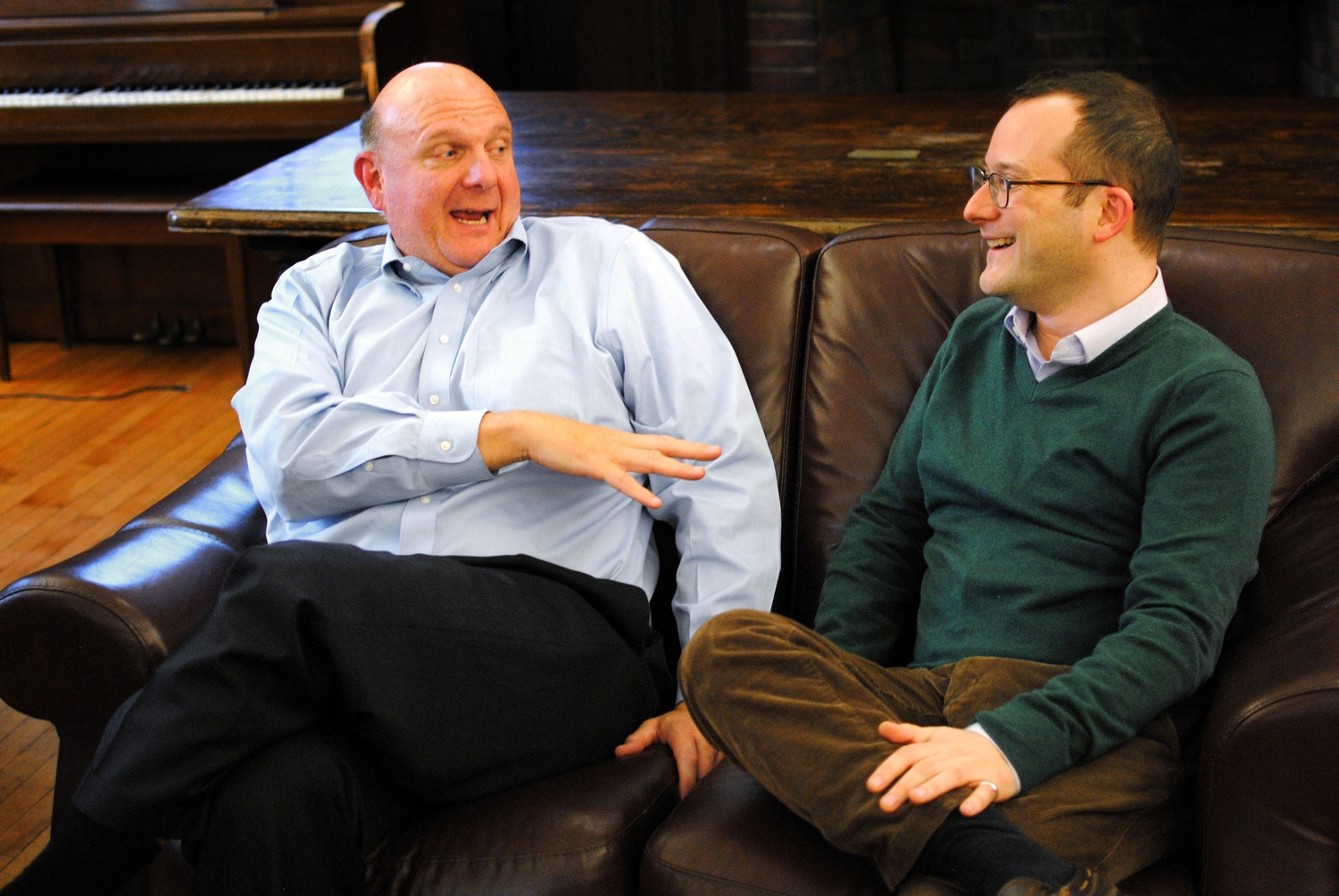 Former Microsoft CEO Steve A. Ballmer '77, left, jokes with with Harvard Computer Science Area Dean David C. Parkes during an interview with The Crimson on Wednesday regarding his donation to the computer science division.
