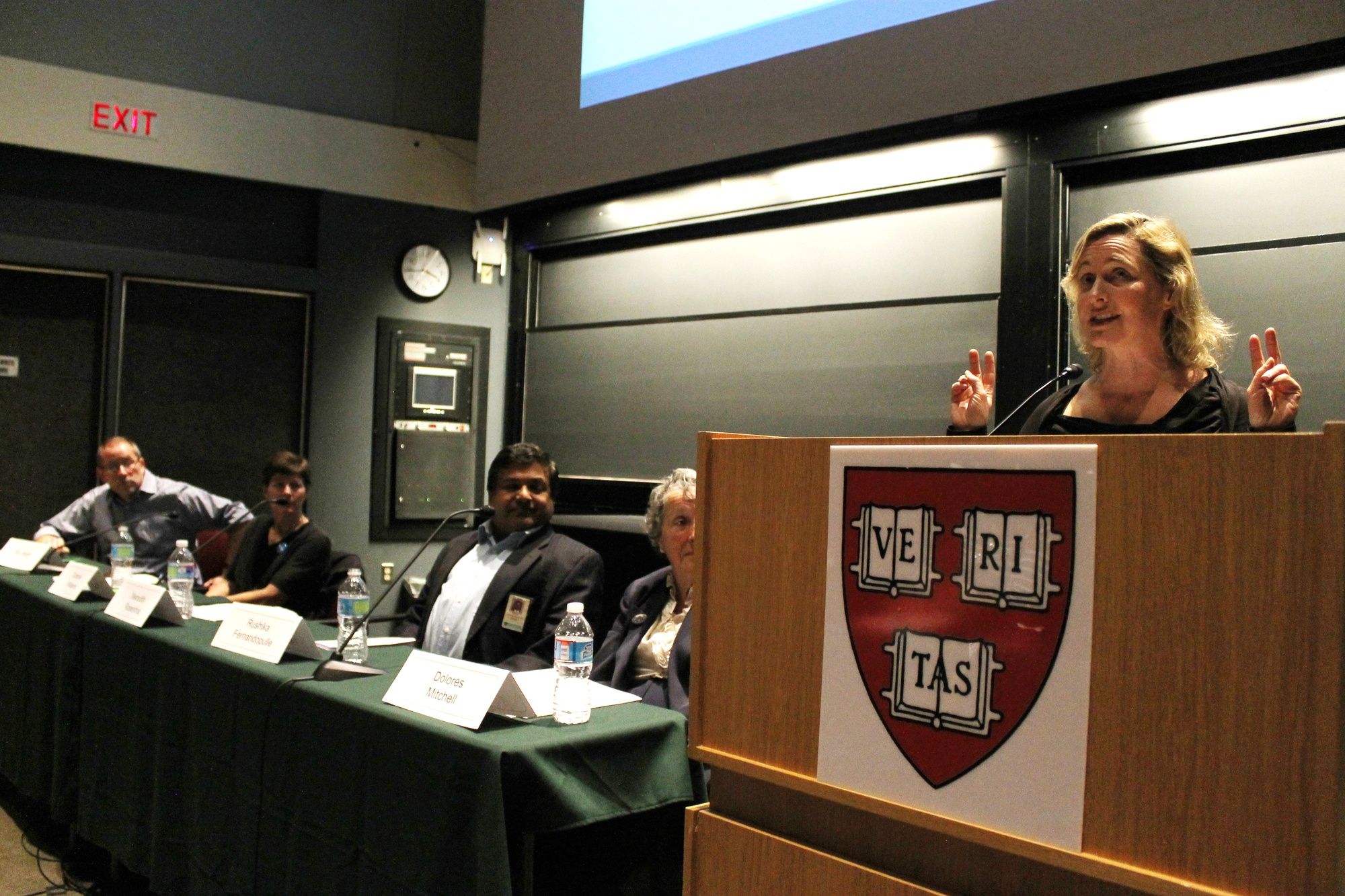 Meredith B. Rosenthal, professor at the School of Public Health, speaks about reducing health care costs at the HUCTW sponsored panel in the Science Center on Monday afternoon.