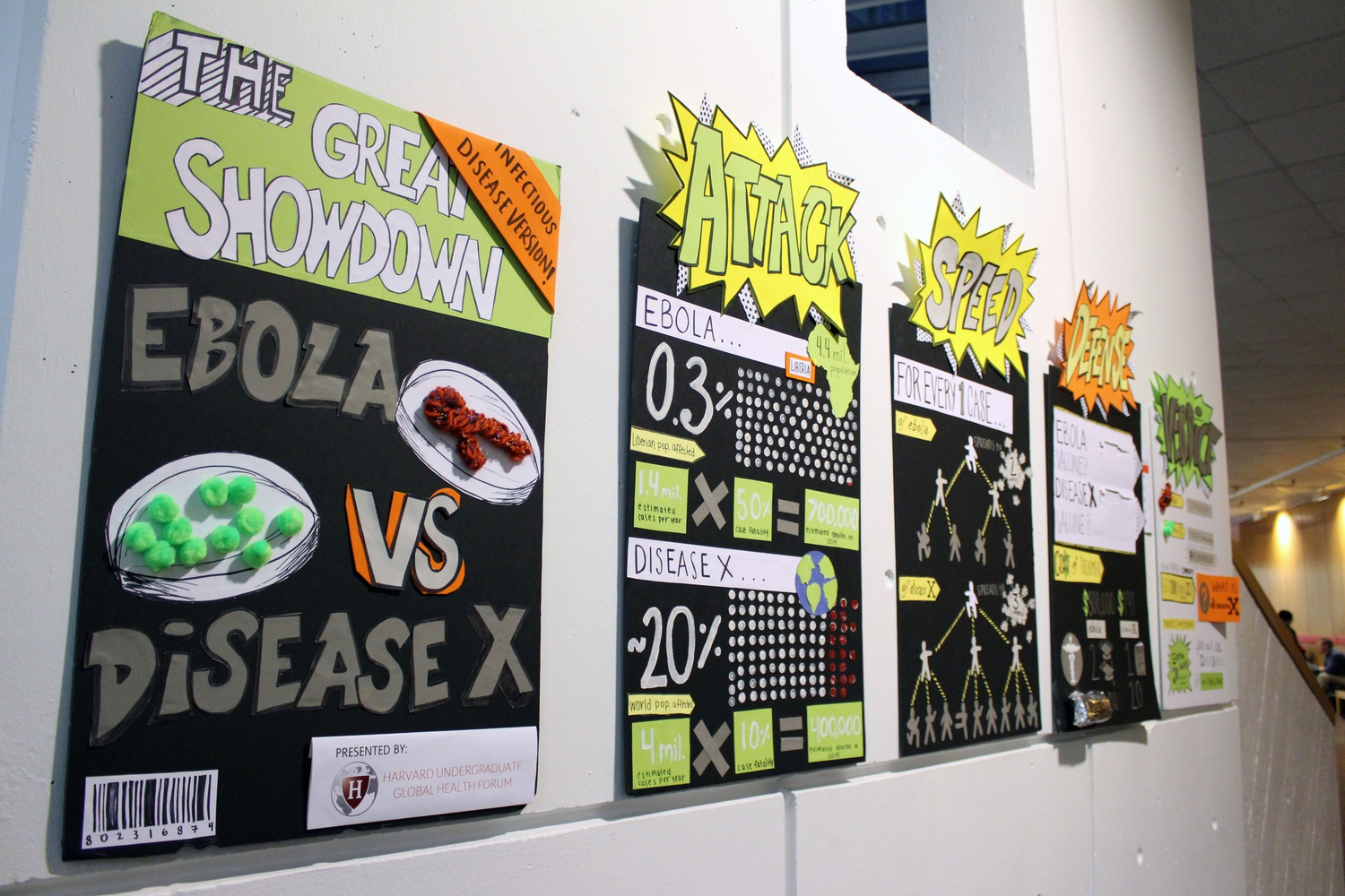 At the Science Center, the Harvard Undergraduate Global Health Forum presented the Emerging Epidemics Art Exhibit, which compared the Ebola virus to a more common, but deadly Disease X.