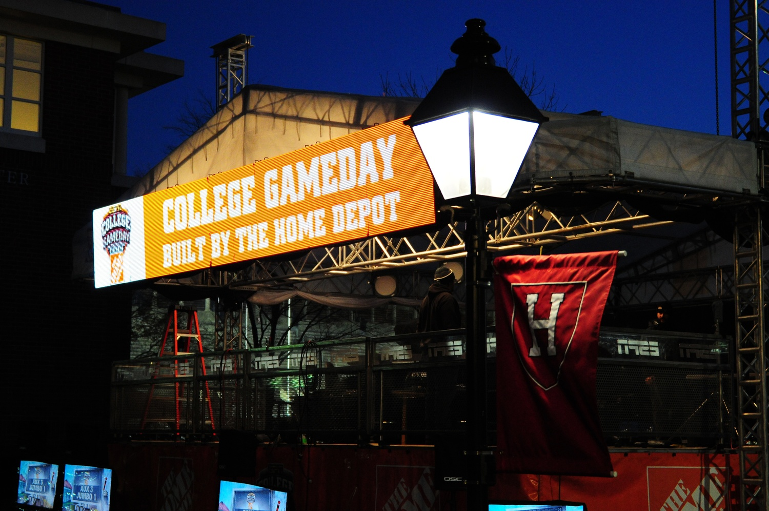 Harvard, teaming with ESPN's College GameDay, prepares for the famous college football show featuring host Chris Fowler and analysts Lee Corso, Kirk Herbstreit, Desmond Howard, and David Pollack.  The show will air on ESPN on Saturday from 9 a.m. until 12:30 p.m., up until the kickoff of The Game versus Yale.  This is GameDay's first appearance at Harvard.