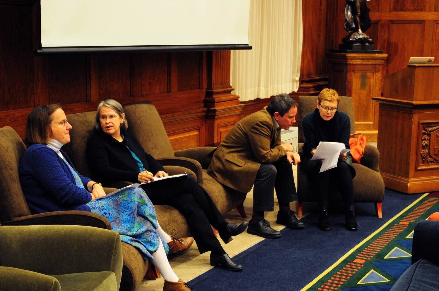 Karen King, Anne Monius, Ahmed Ragab, and Daniel Smail prepare for their lecture of a History of Death Thursday night in the Barker Center.  They chronicled the place of death in pre-modern history and worked to trace the intersections of politics and death across religious and cultural boundaries.