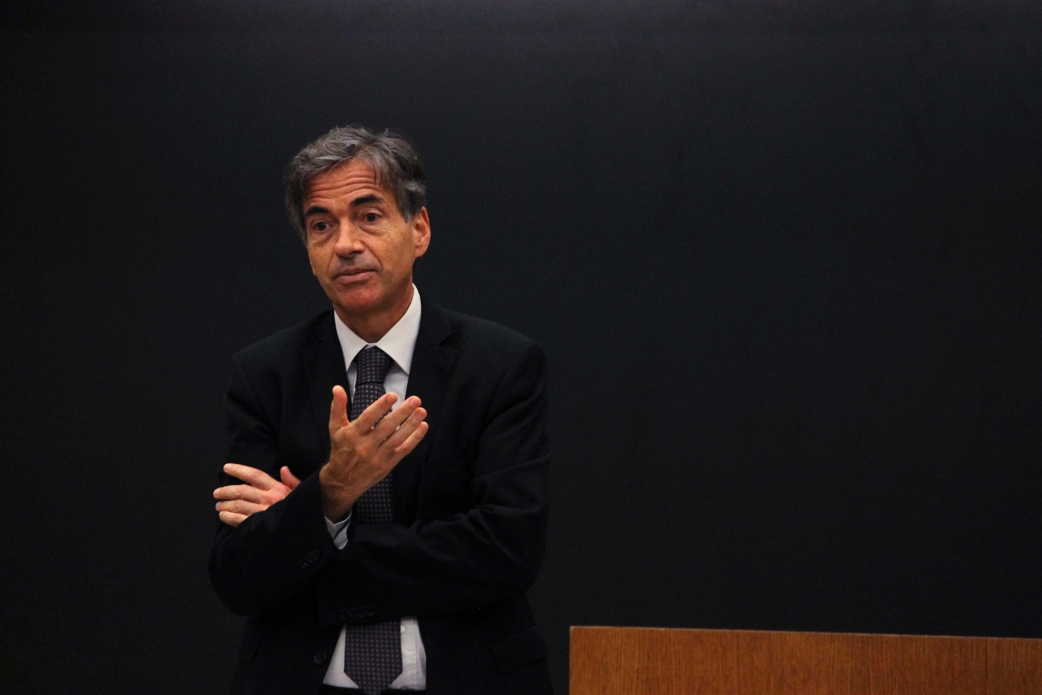 Luis Fernandes, vice-minister of sports for Brazil, speaks about how sports like the FIFA World Cup 2014 can impact the economy and people of Brazil on Monday afternoon in Wasserstein Hall.