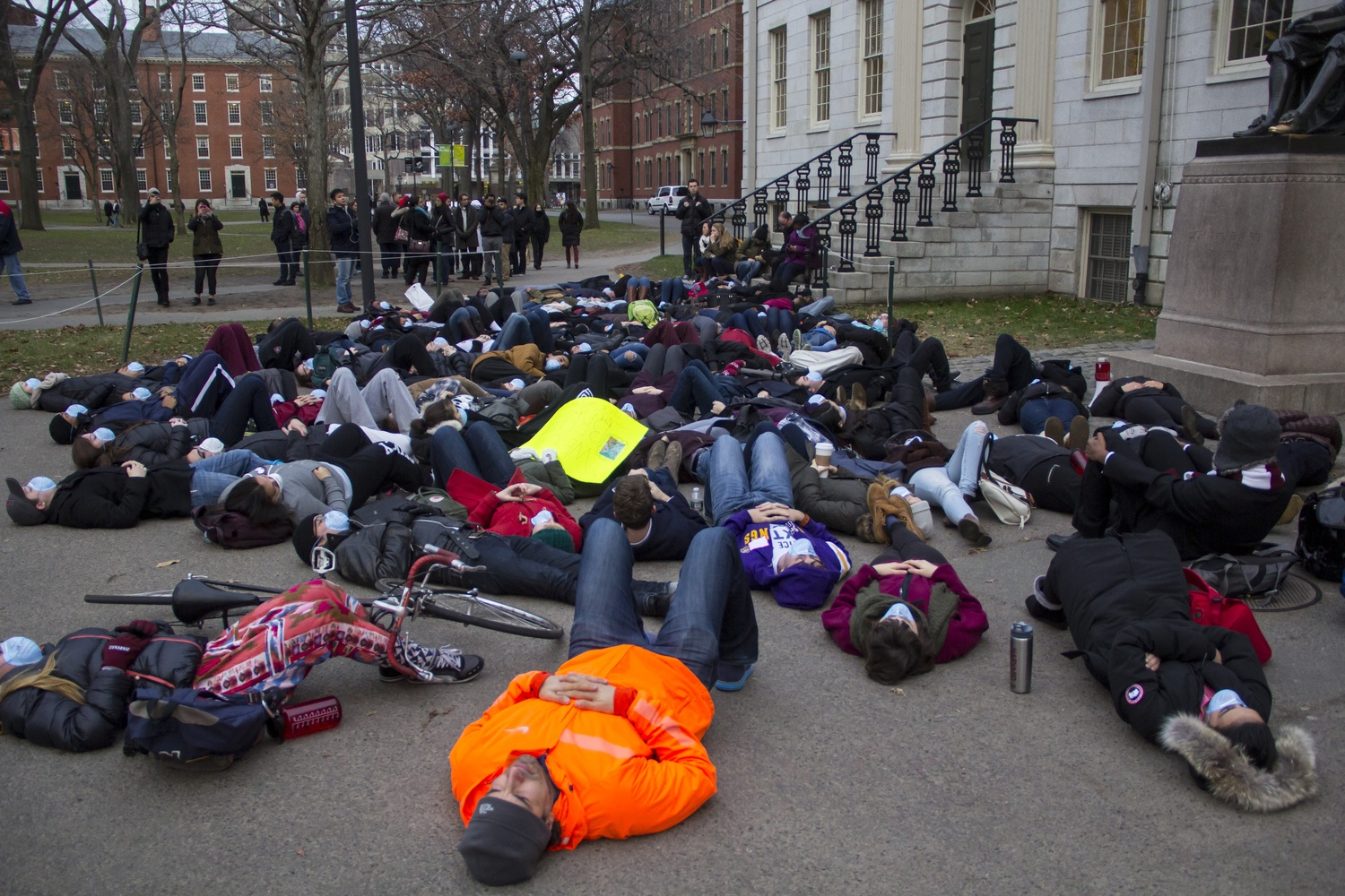 During the Black Lives Matter protests in early 2015, Harvard protesters lied down for 4.5 minutes in front of the John Harvard statue to honor Michael Brown.