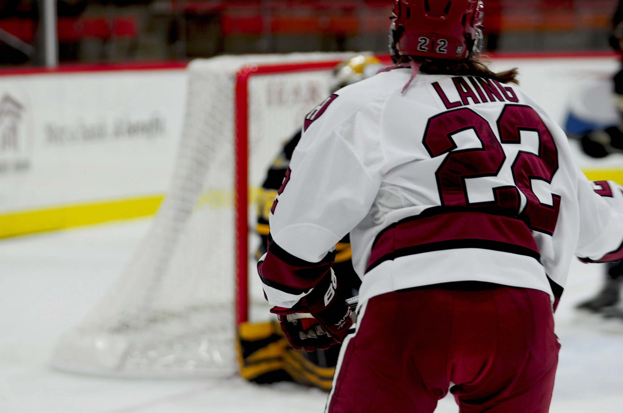 Freshman forward Lexie Laing, shown in previous action, found the back of the net in both of the Crimson's wins over the weekend.