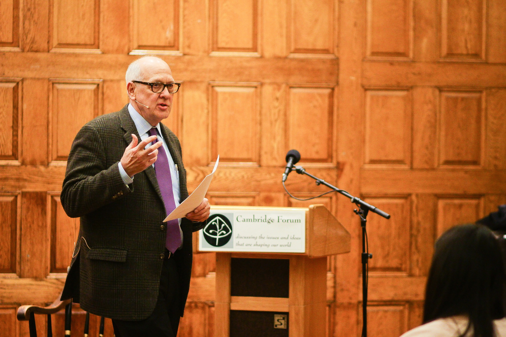 Alex Jones, director of the Harvard Shorenstein Center on Media, Politics, and Public Policy, speaks on the role of the media and journalism within a democracy, especially touching upon the history of the First Amendment. The talk was sponsored by the First Parish Church and moderated by Charles Sennott, founder of Global Post.