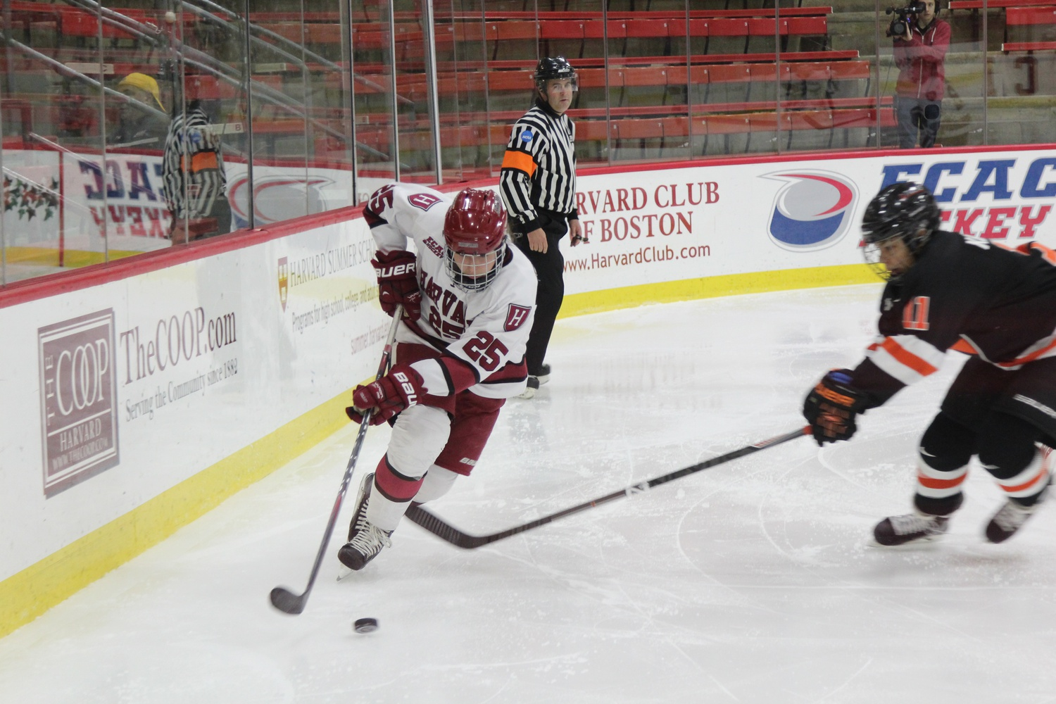 Sophomore forward Sydney Daniels, shown here in recent action, lifted the Crimson over the Bobcats with an overtime winner Friday night.