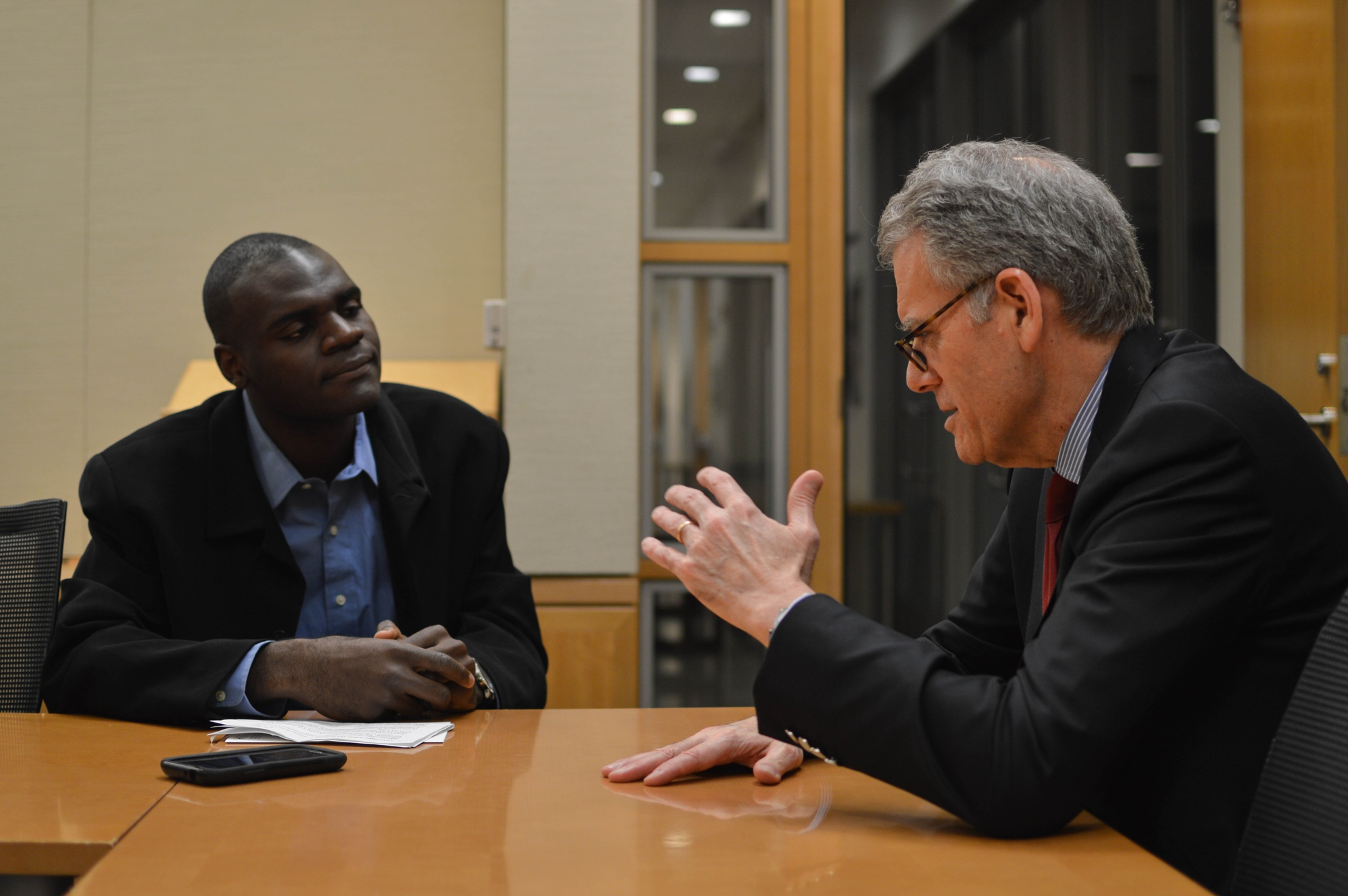 Jeffrey DeLaurentis, Chief of Mission at the U.S. Interests Section in Havana, Cuba, answers questions from Dennis O. Ojogho '16 in a January 30th interview.