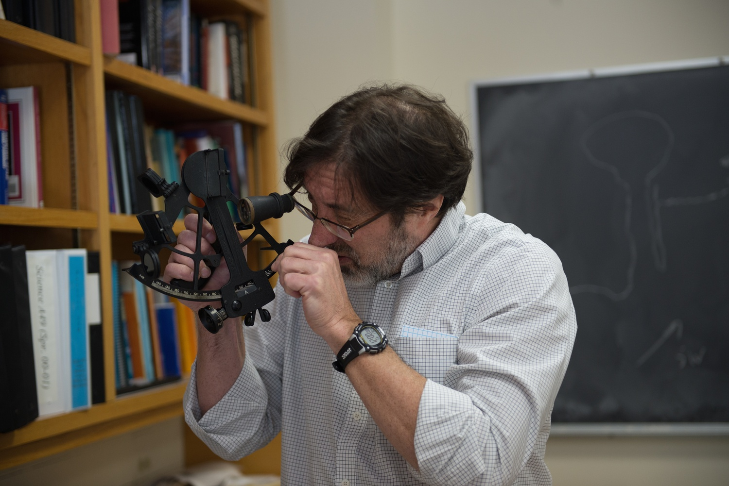 John Huth Demonsrates how to use a sextant.