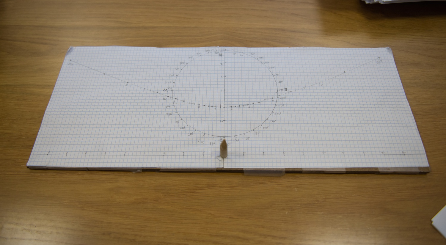 A sun compass, one of many tools used in Primitive Navigation, sits on a desk in John Huth's office.