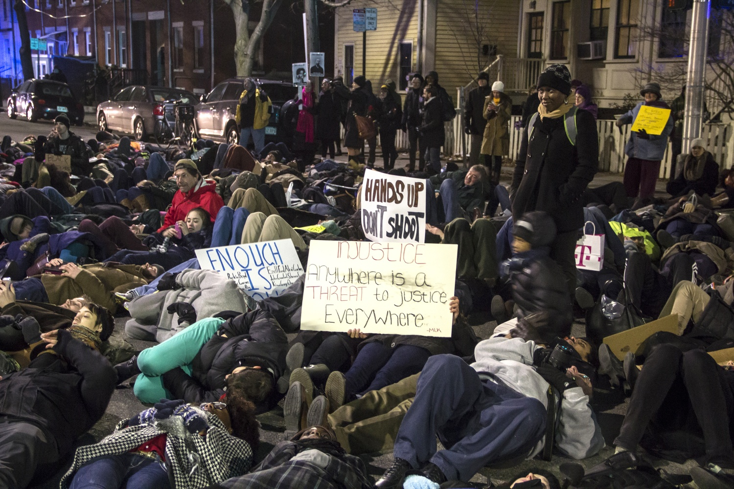 Protesters in the Black Lives Matter campaign staged die-ins around Central Square in January.