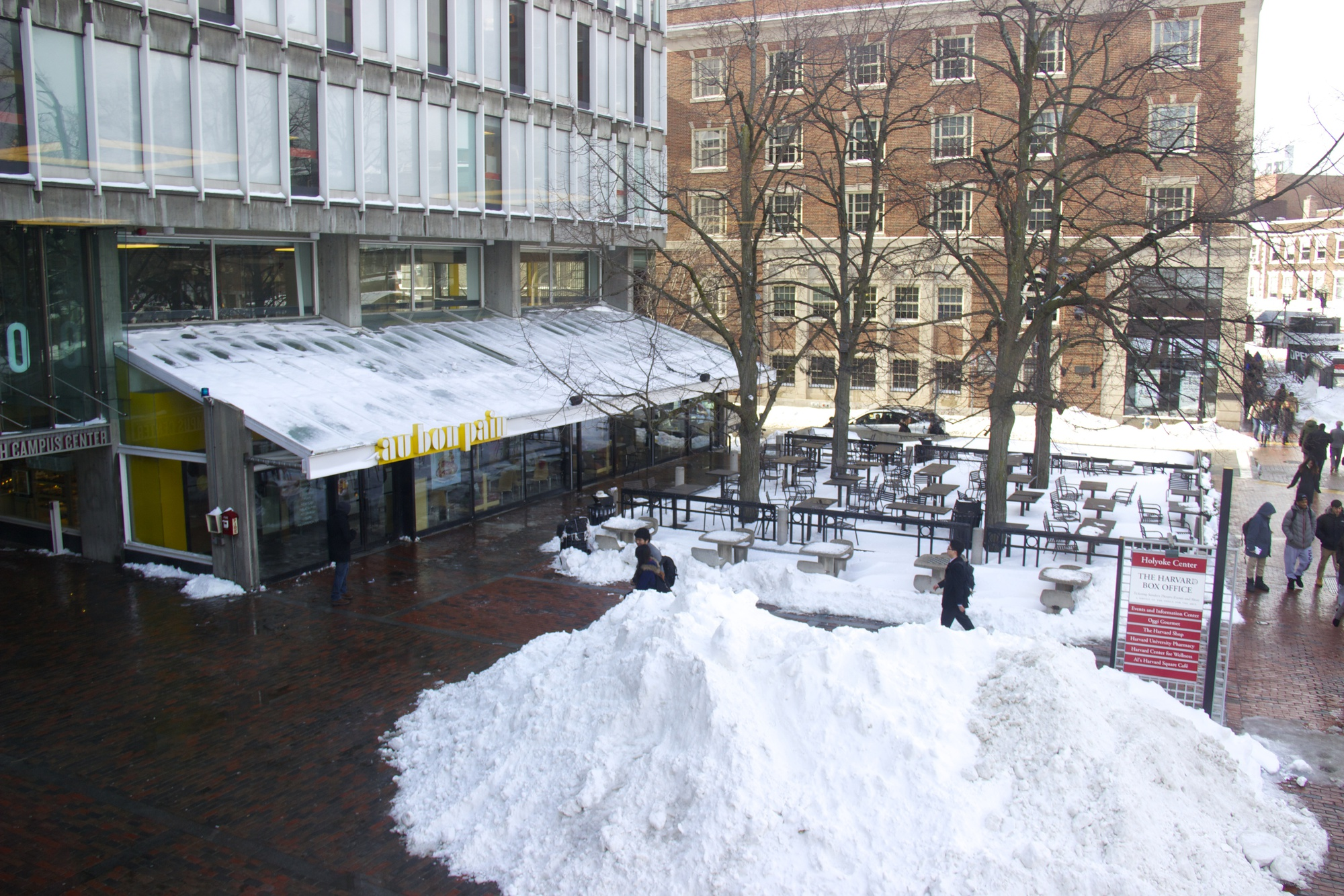 The plaza outside the Smith Campus Center will change significantly in the upcoming renovations, hosting a new extended glass  front where Au Bon Pain is currently located. Brigid O'Rourke, a Harvard spokesperson, said the fate of restaurants in the campus center has yet to be decided.