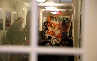 Divest Protest in Mass Hall