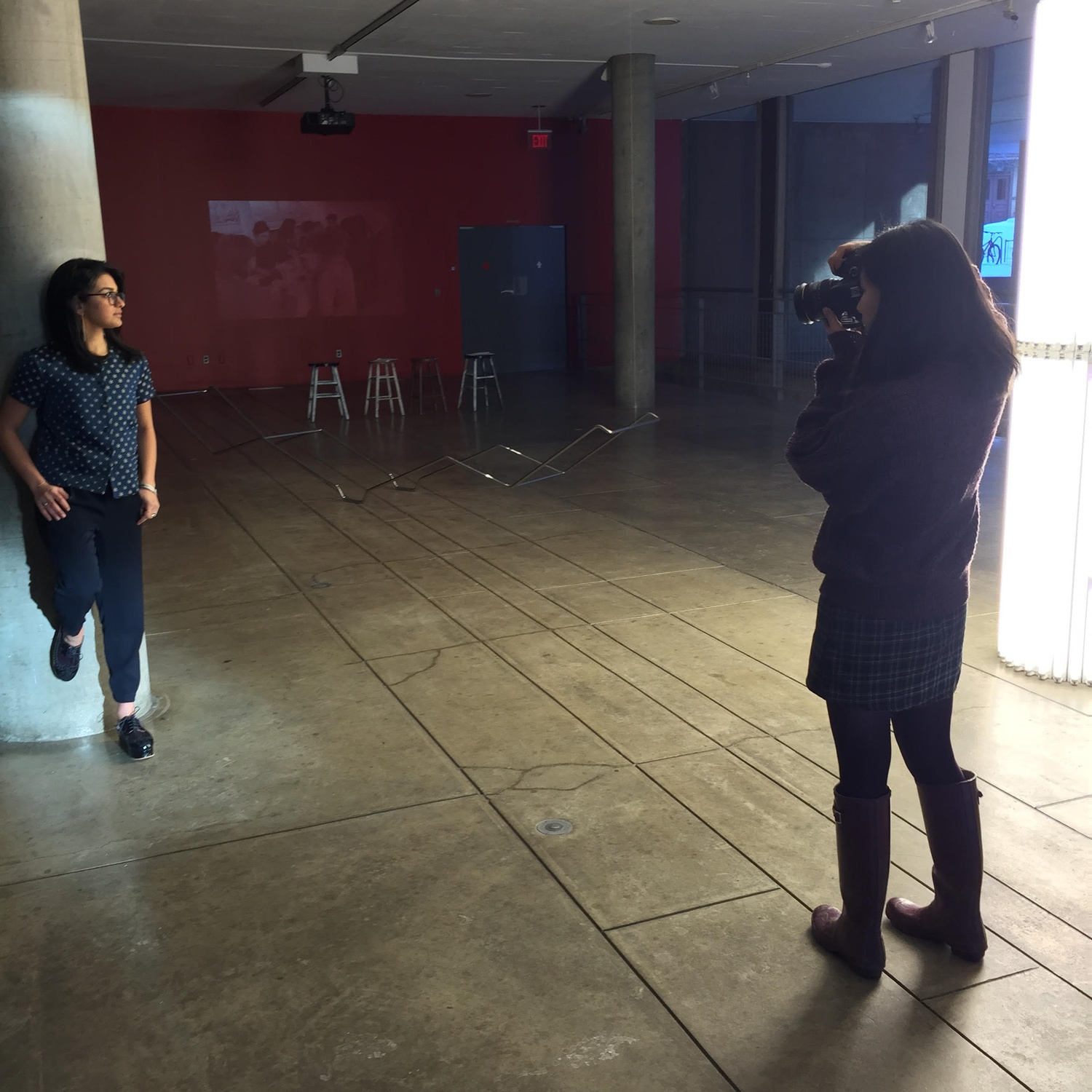 Katie L. Borrazzo '18, an active Crimson editor, does a Yard Style photoshoot for The Collegiate Club, a fashion and lifestyle blog recently founded by a group of freshmen in the college.
