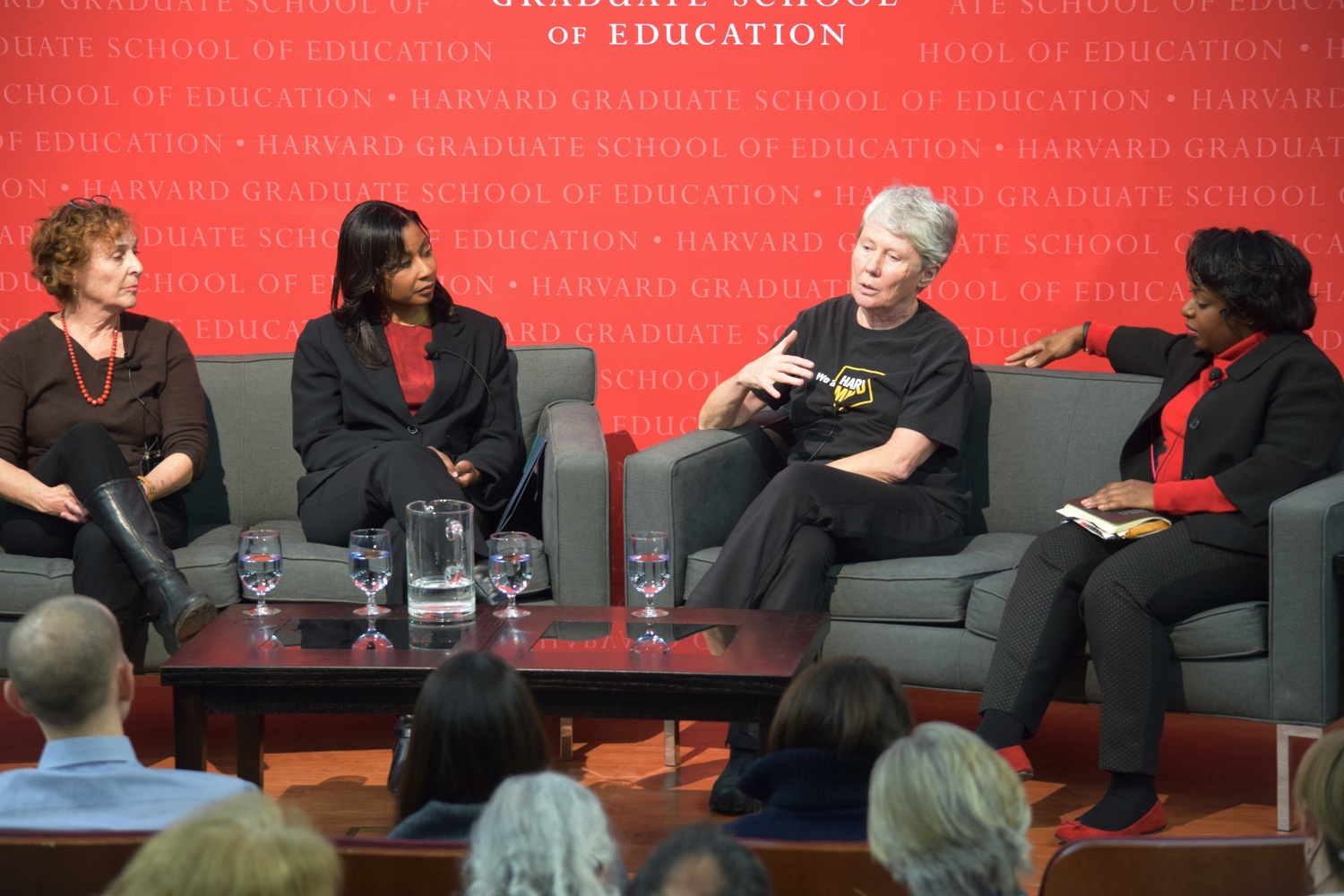 Panelists speak at the Askwith Forum at the Graduate School of Education on Wednesday. The forum discussed female representation in science, technology, engineering, and mathematics fields.