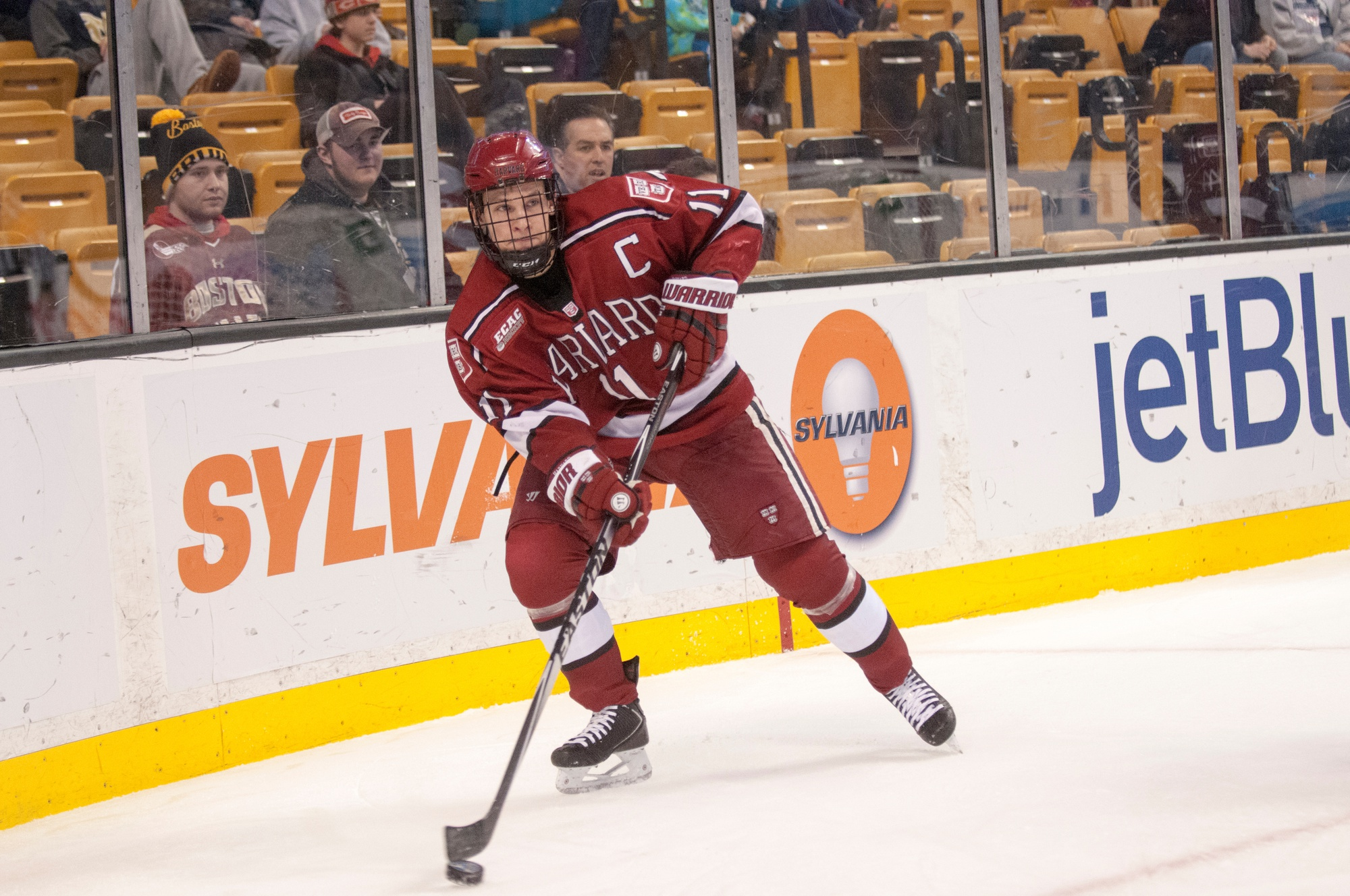 Junior co-captain Kyle Criscuolo had the lone goal of the night for the Crimson in its 5-1 loss to St. Lawrence on Friday.
